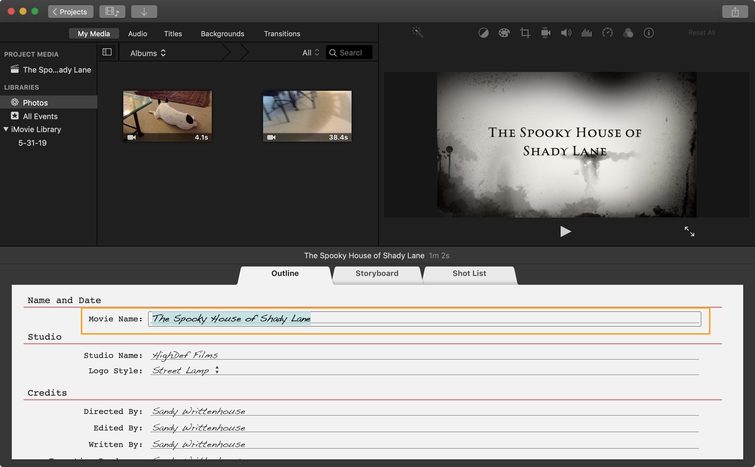 Trailer Title iMovie Mac