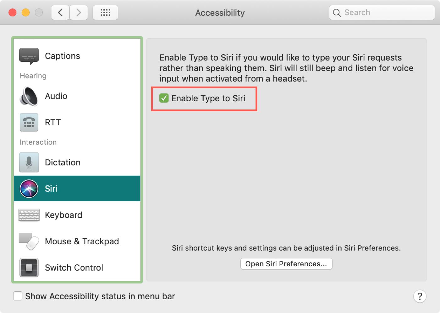 Type to Siri Preferences Mac