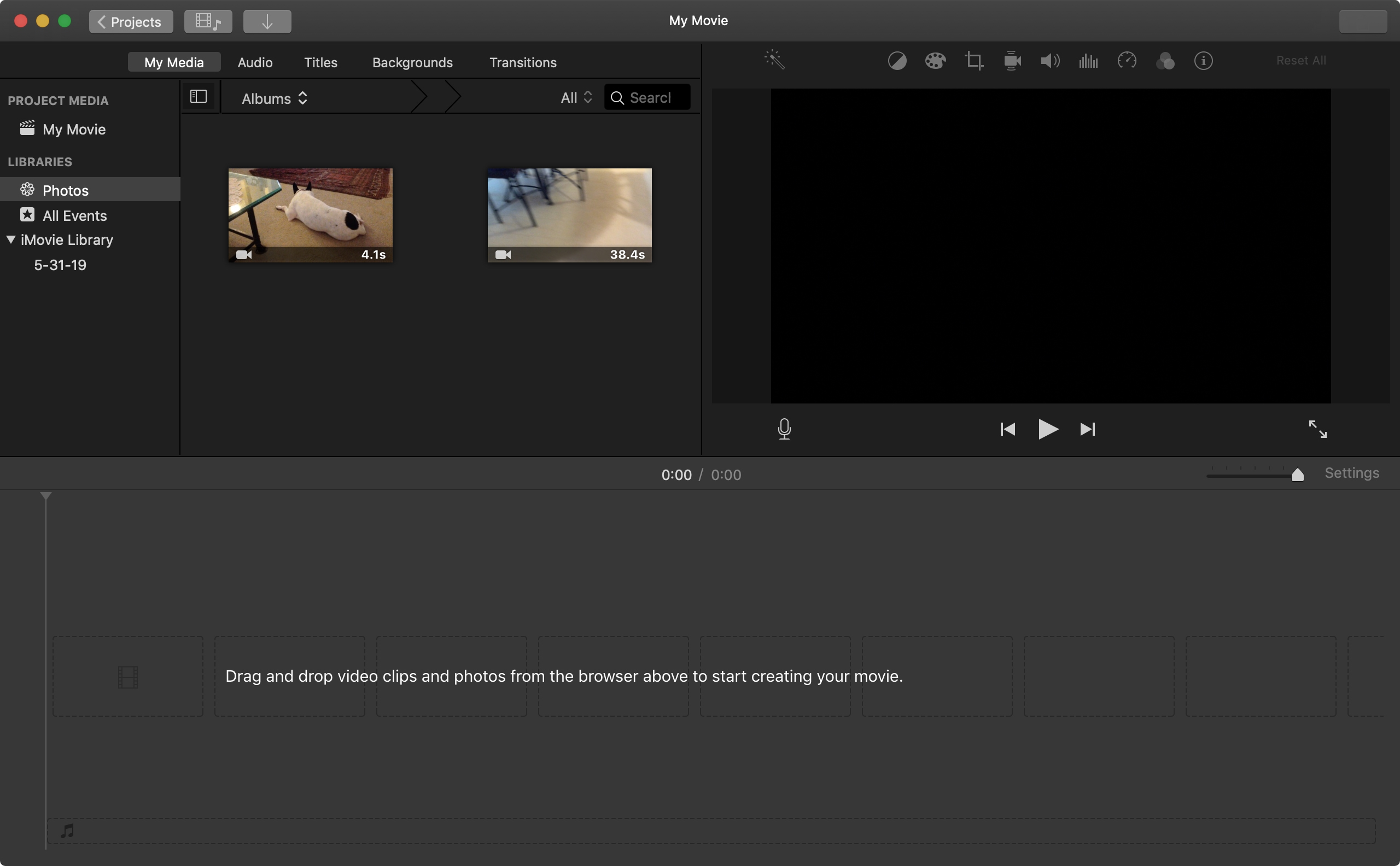 iMovie Movie Project on Mac