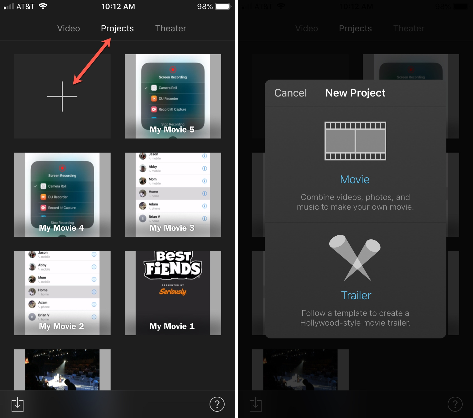 iMovie New Project on iPhone
