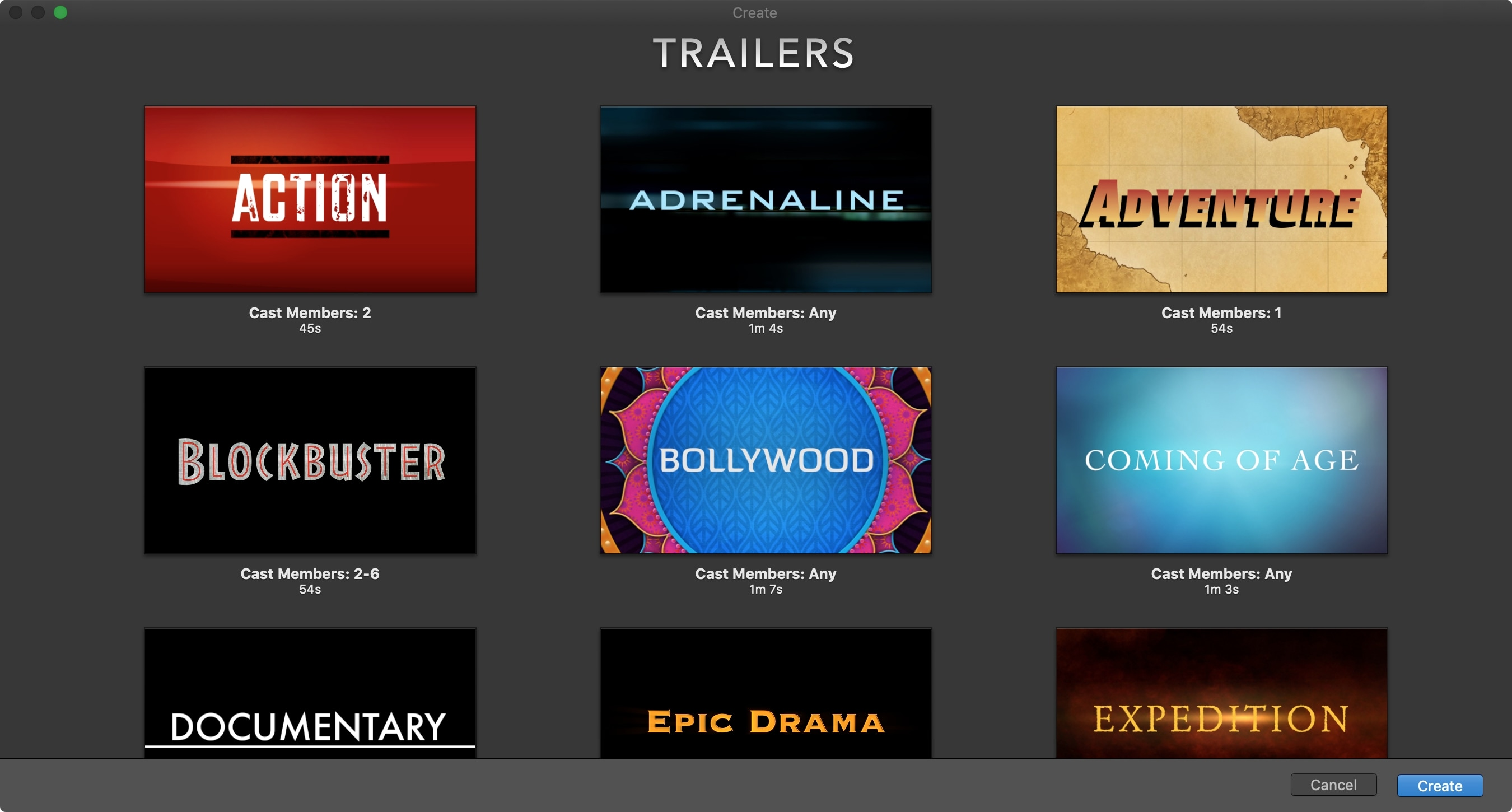 iMovie New Trailer Project on Mac