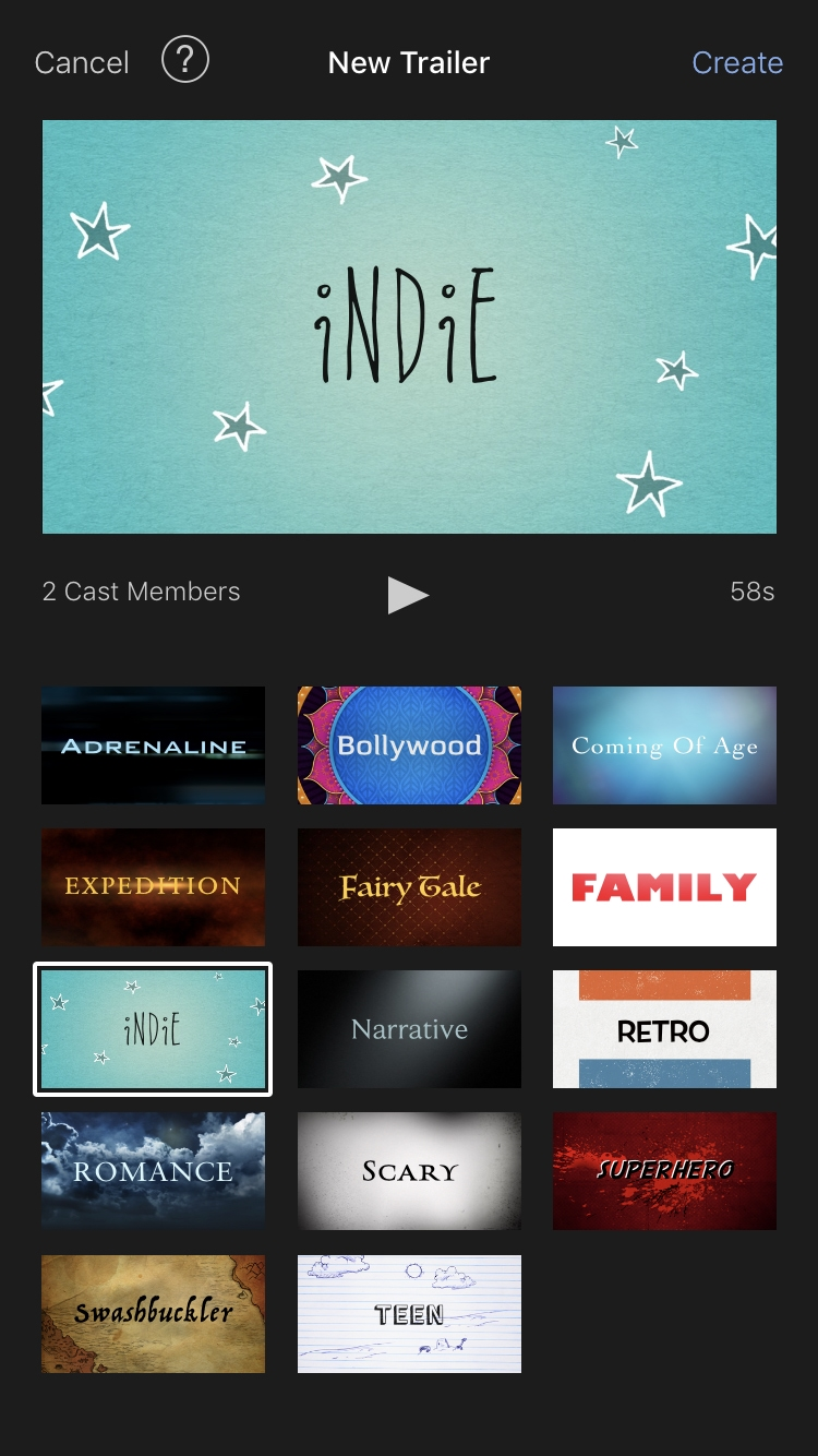 iMovie New Trailer Project on iPhone