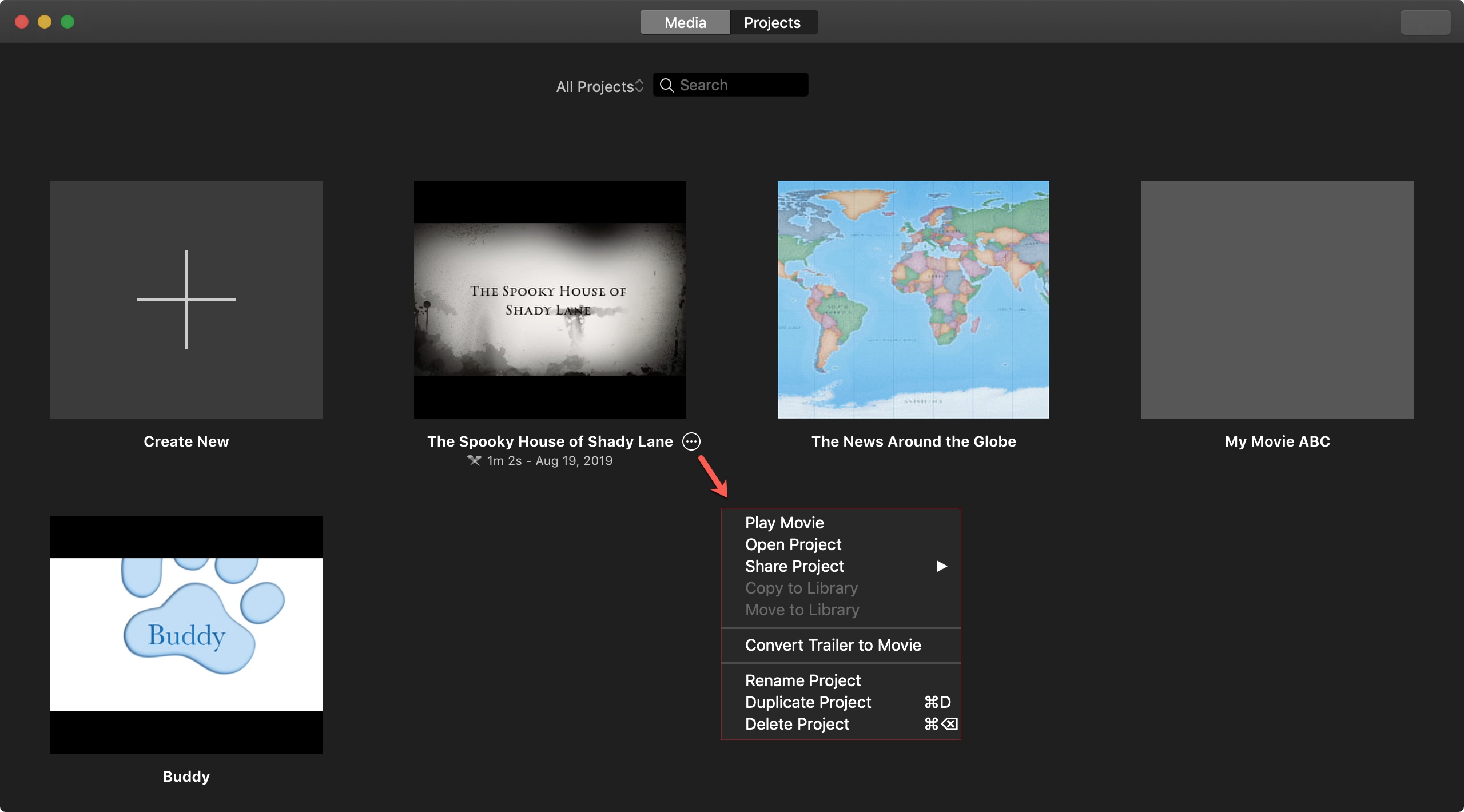 iMovie Project Actions Mac