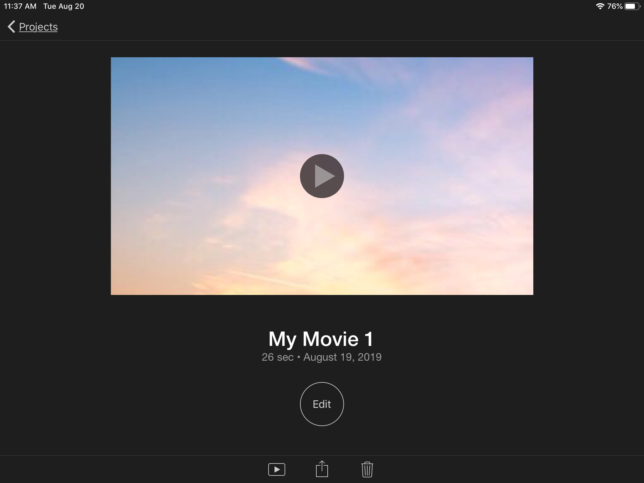 iMovie Project Actions iPad