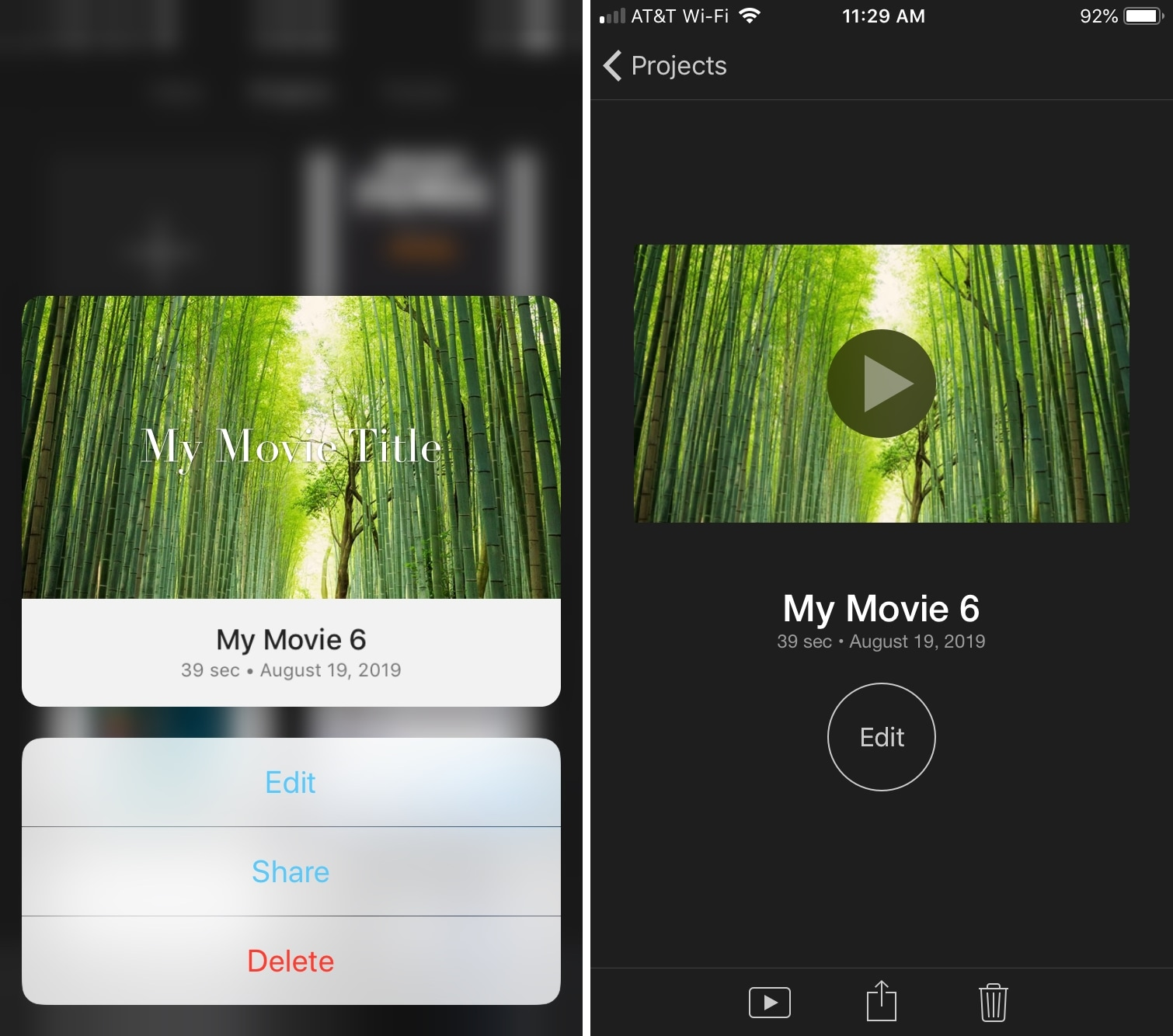 iMovie Project Actions iPhone