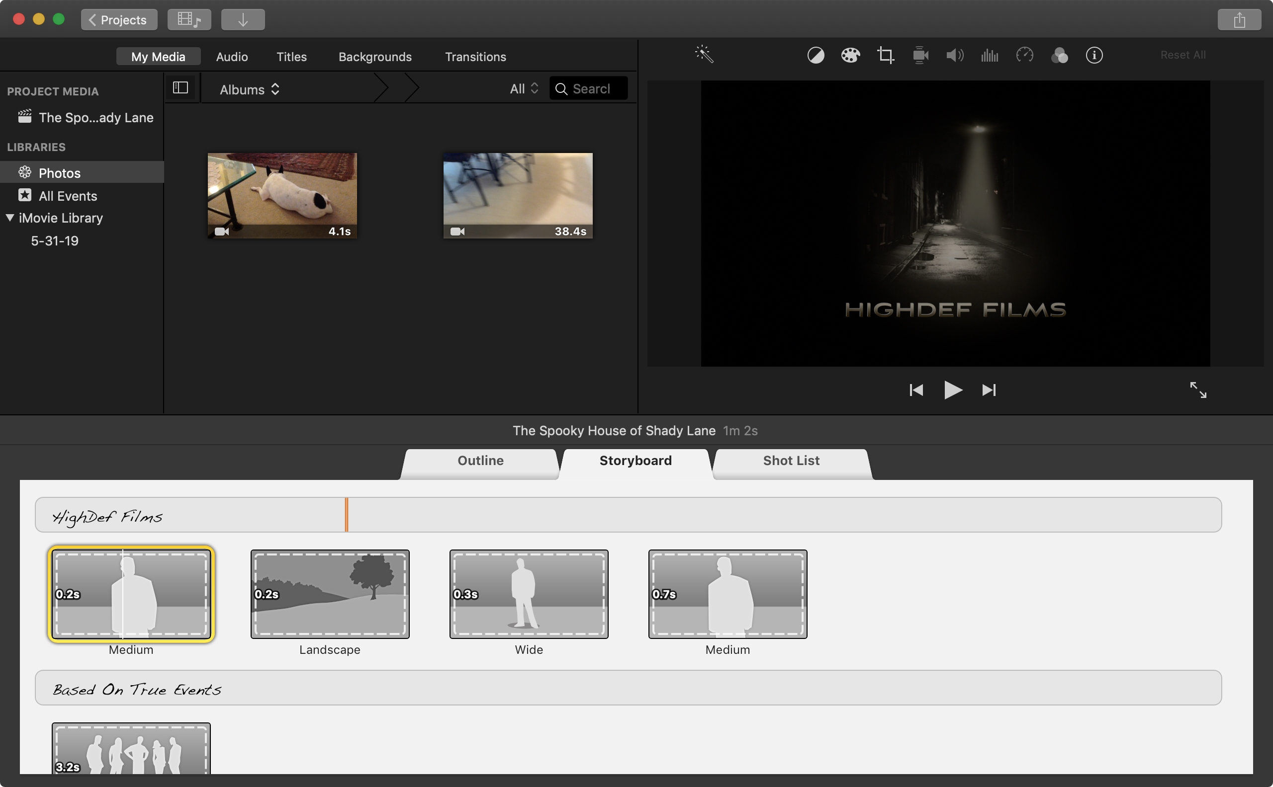 iMovie Trailer Project on Mac