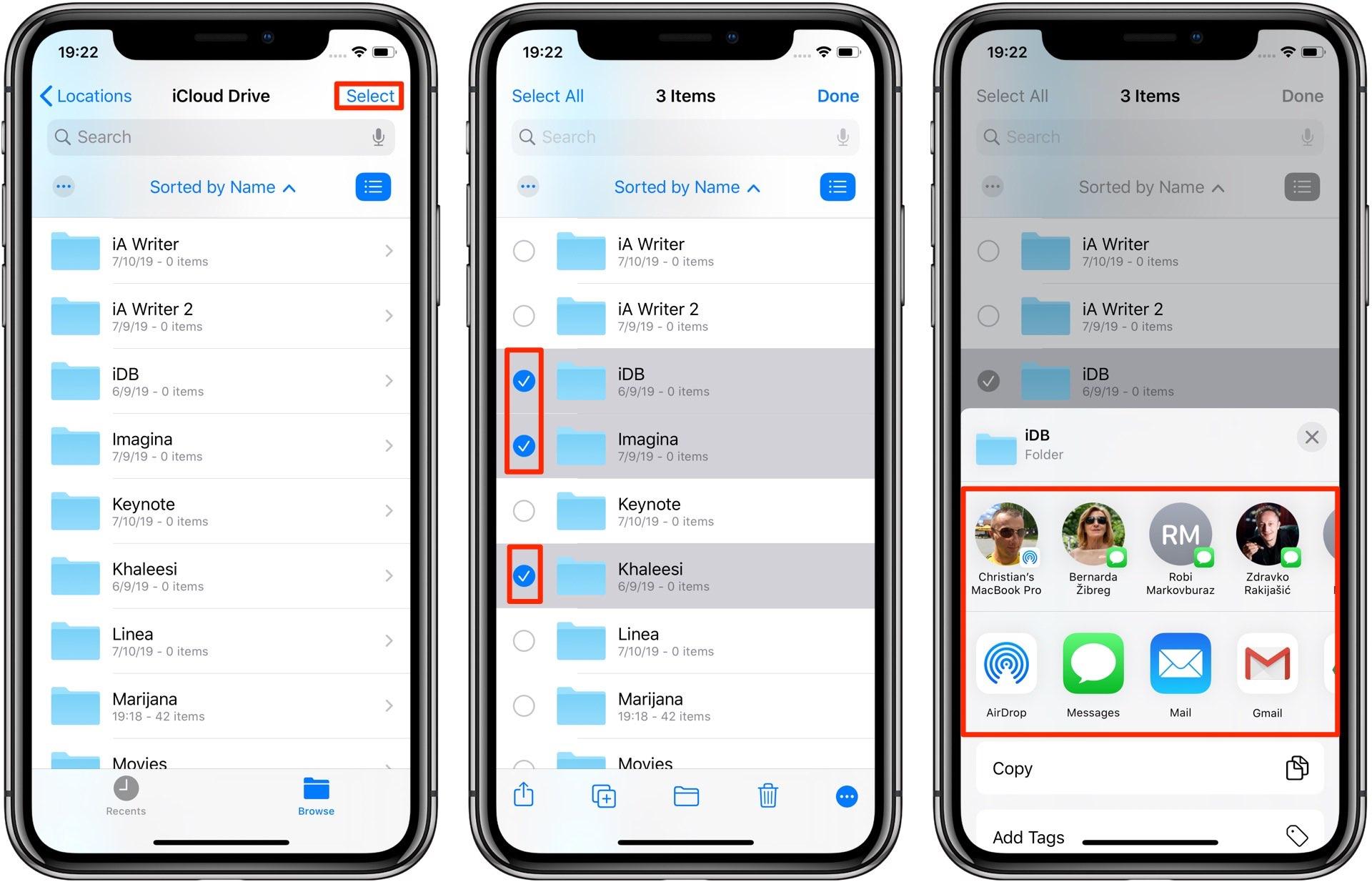 Compartir carpetas de iCloud Drive - iPhone multiple