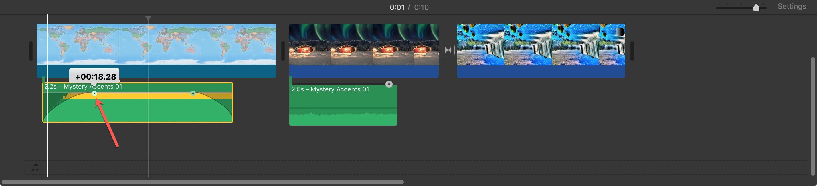 Add Fade Audio Clip iMovie Mac