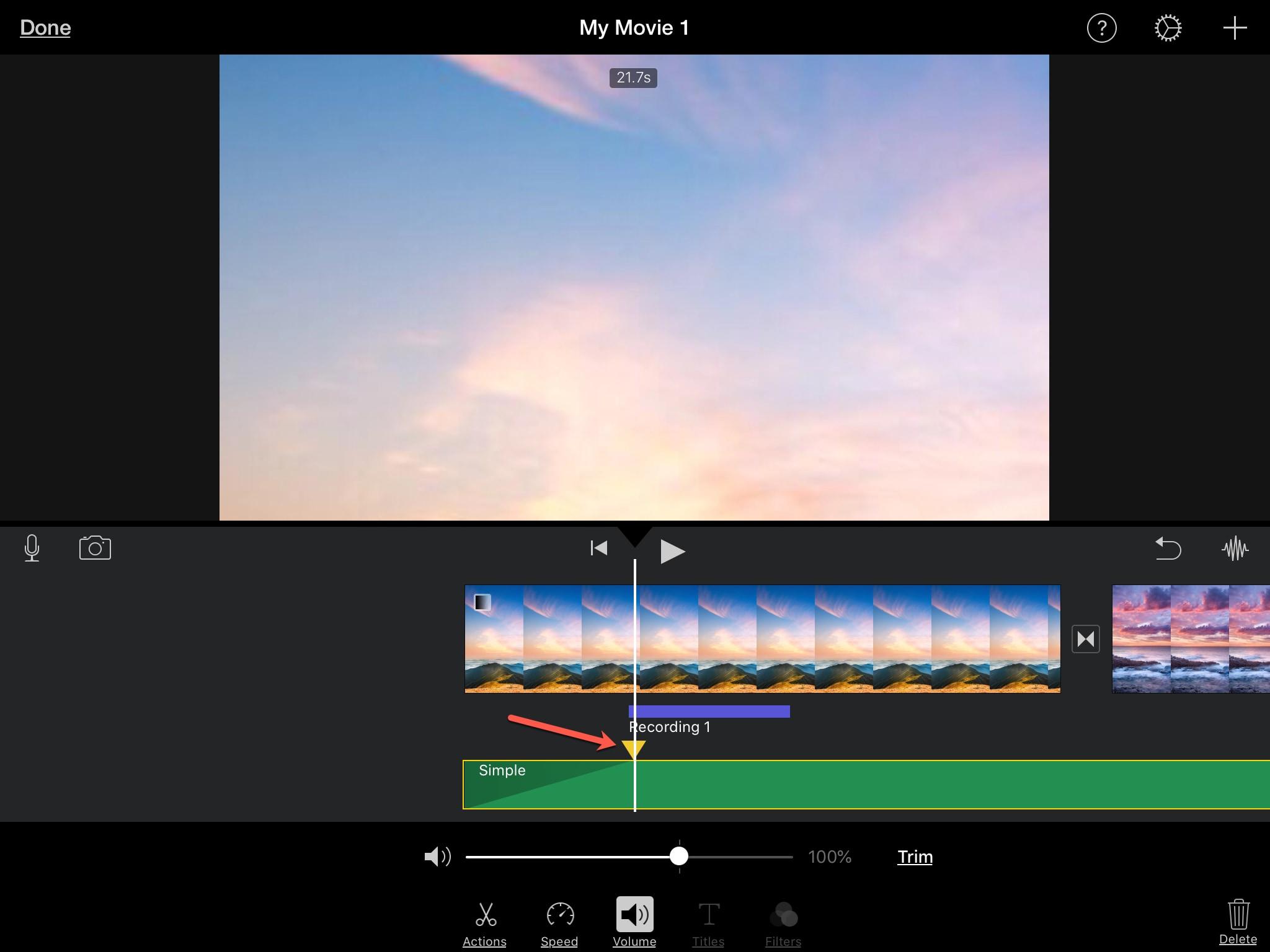 Add Fade Audio Clip iMovie iPad