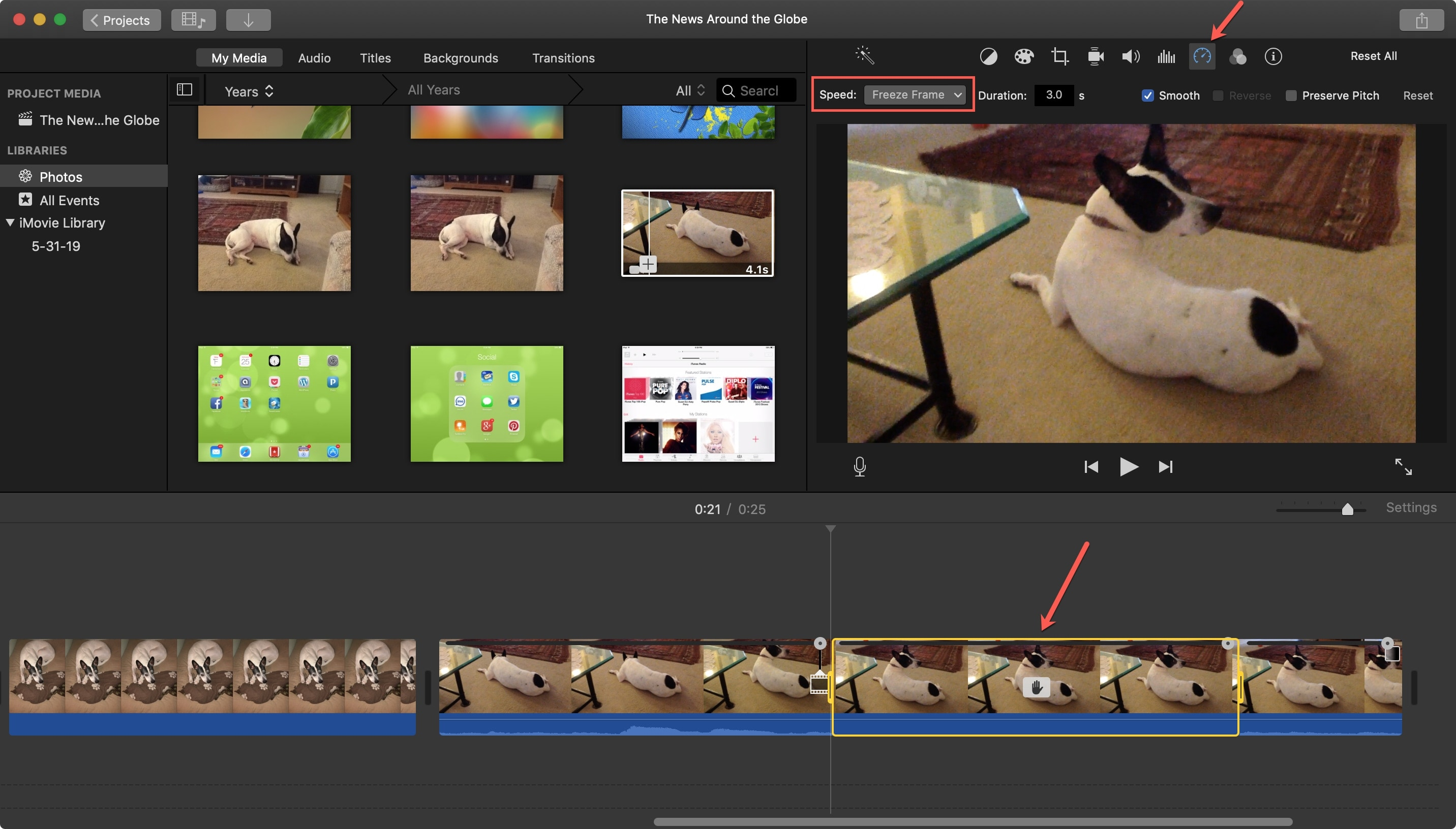Add Freeze Frame iMovie Mac