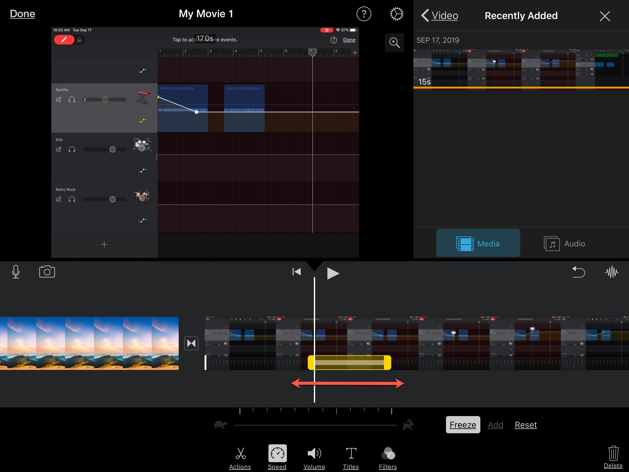 Adjust Freeze Frame iMovie iPad