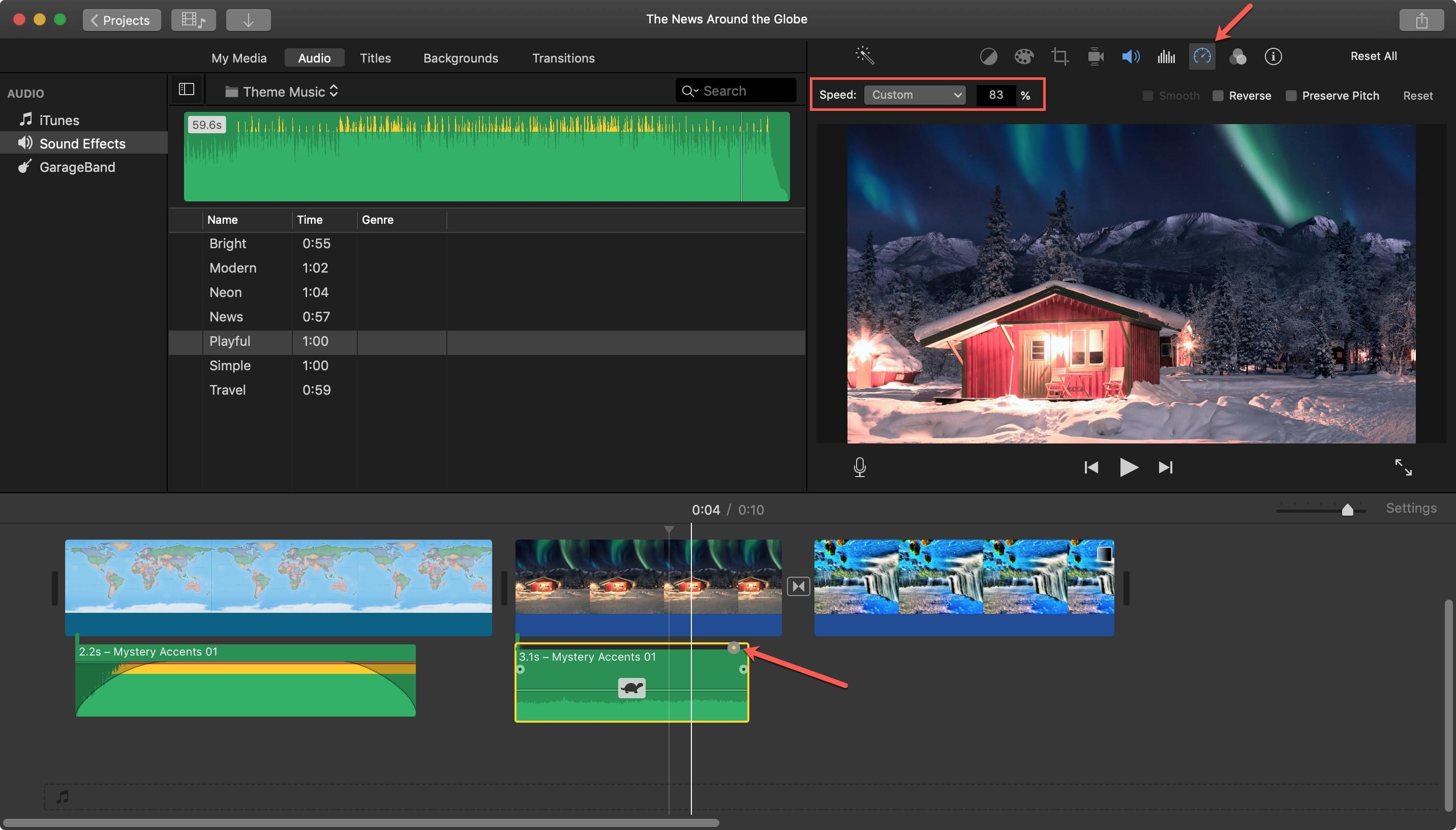 Adjust Speed Audio Clip iMovie Mac