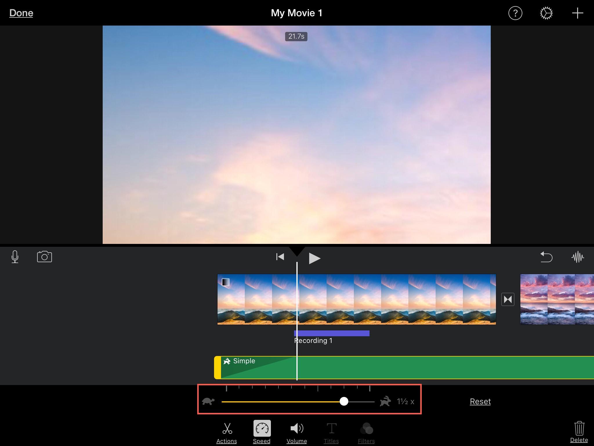 Adjust Speed Audio Clip iMovie iPad