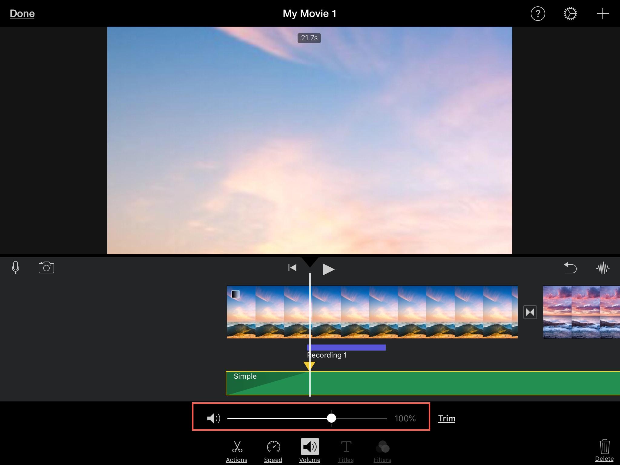 Adjust Volume Audio Clip iMovie iPad