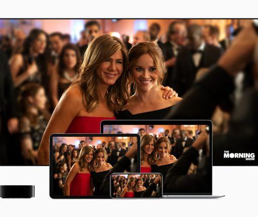Apple TV+ promo banner for. The Morning Show