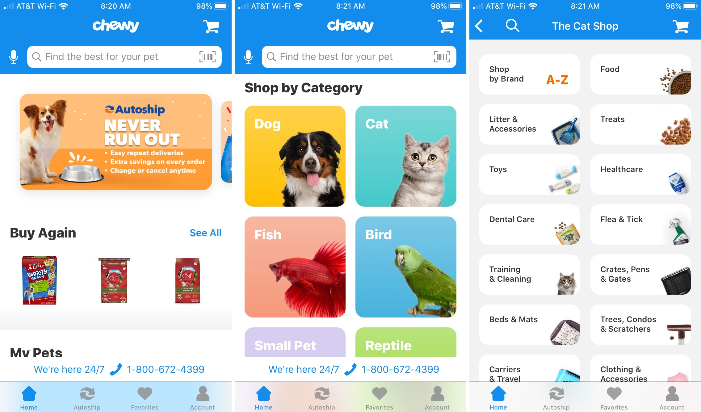 Chewy app on iPhone