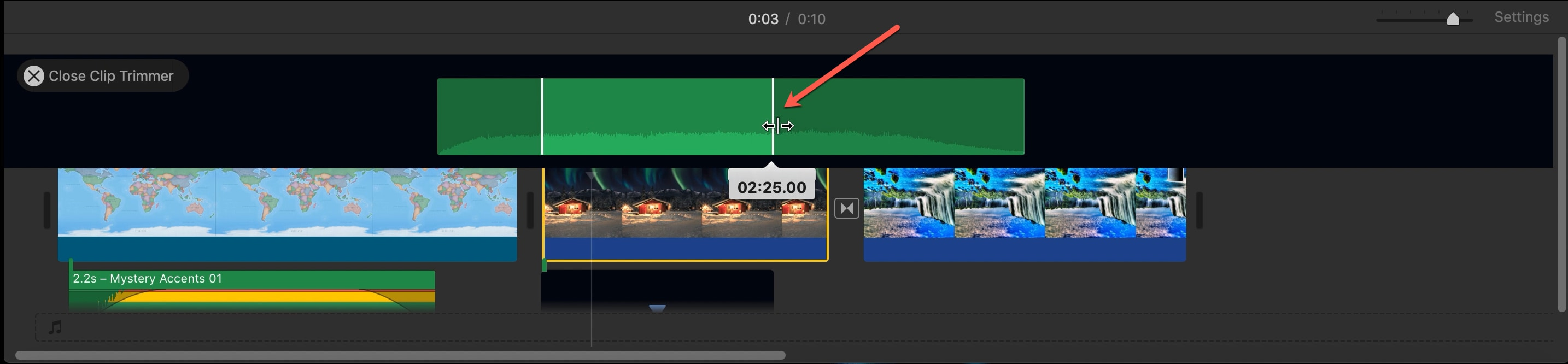 Clip Trimmer Audio Clip iMovie Mac