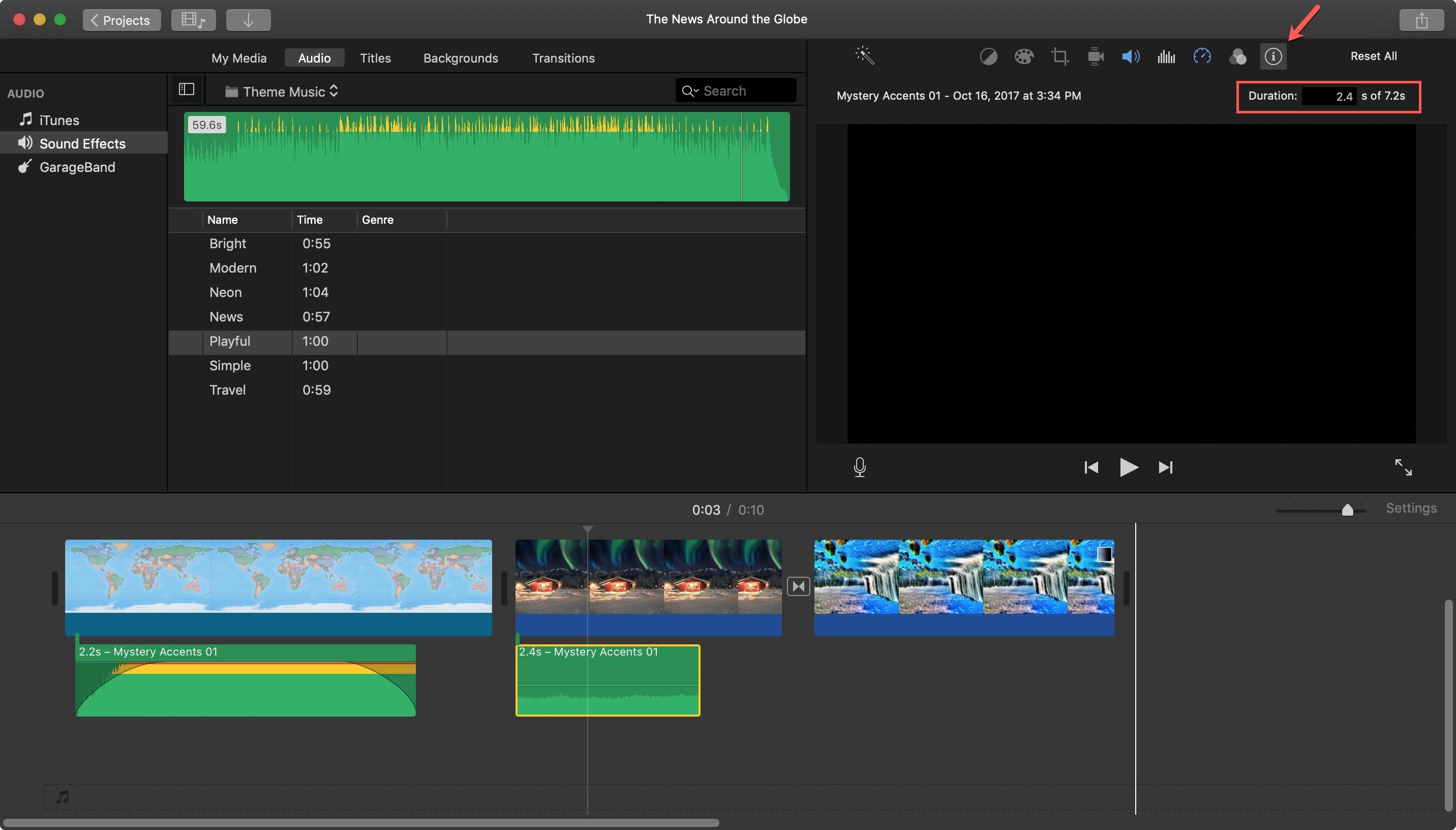Duration Audio Clip iMovie Mac