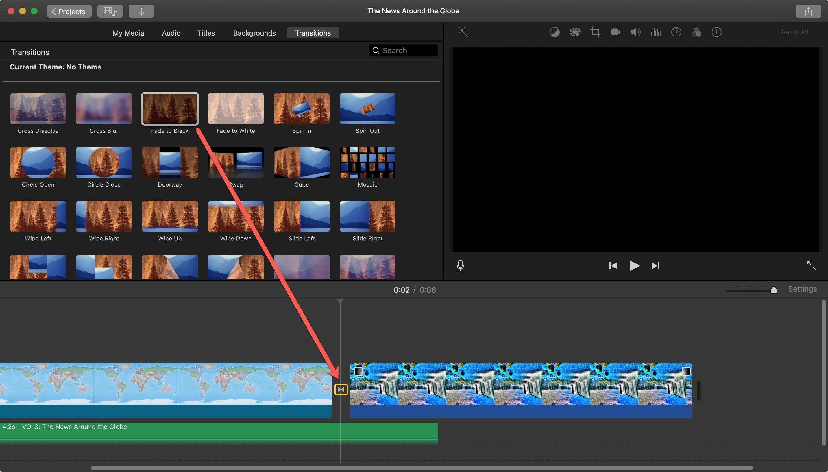 Fade to black iMovie Mac