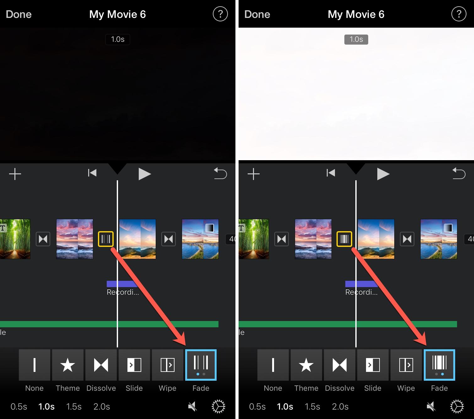Fade to black white iMovie iPhone