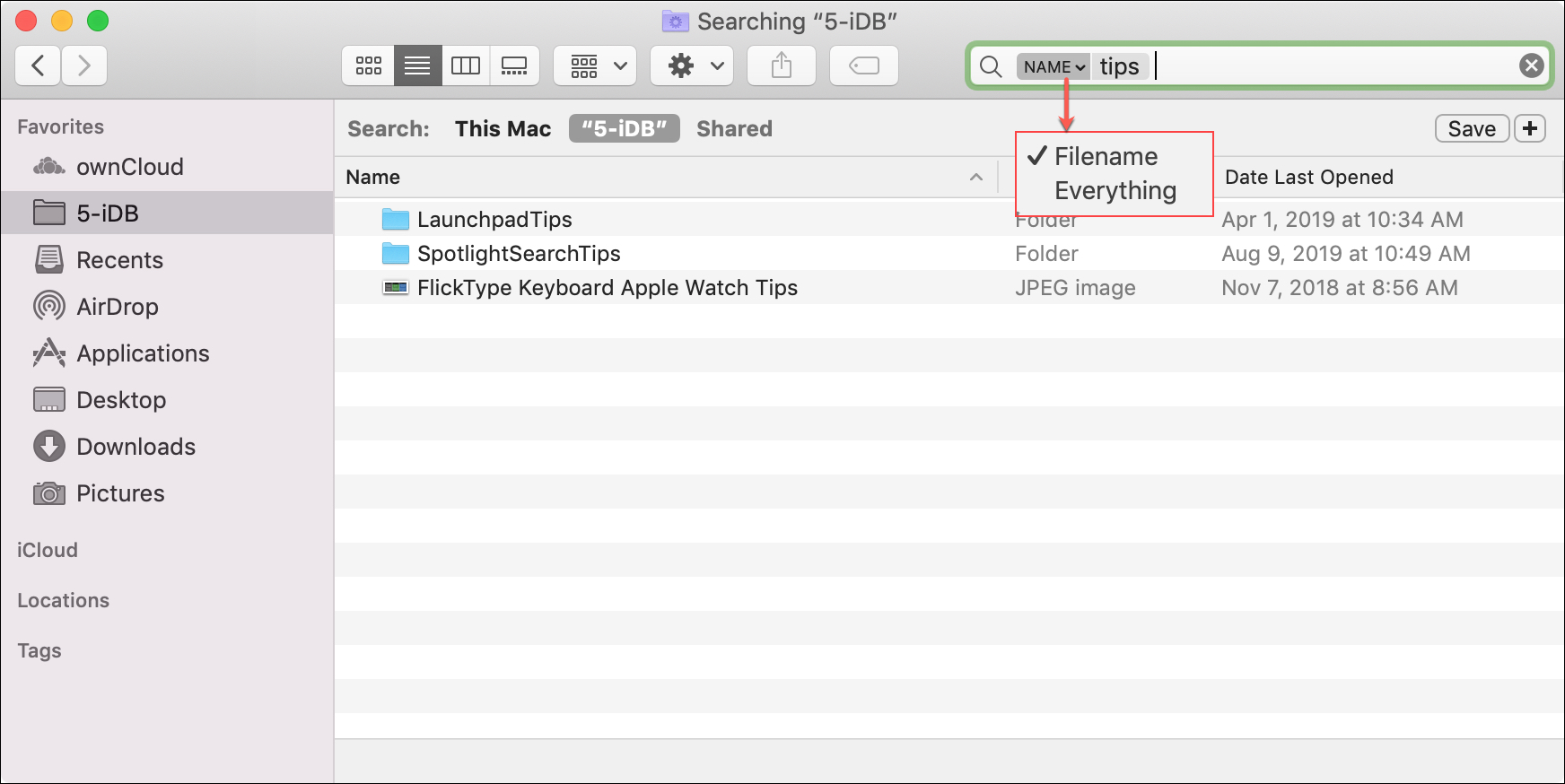 Finder Search Dropdown Mac