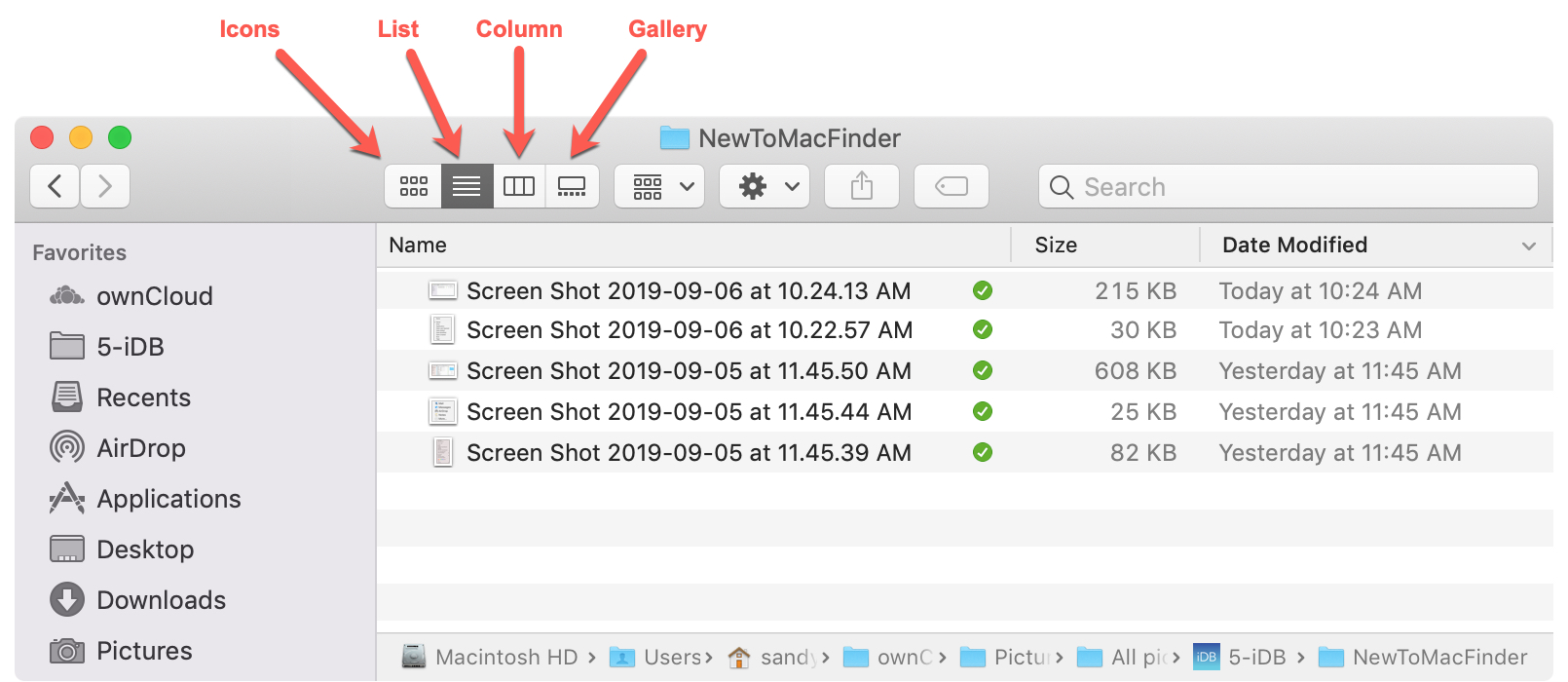 Finder View Buttons Mac