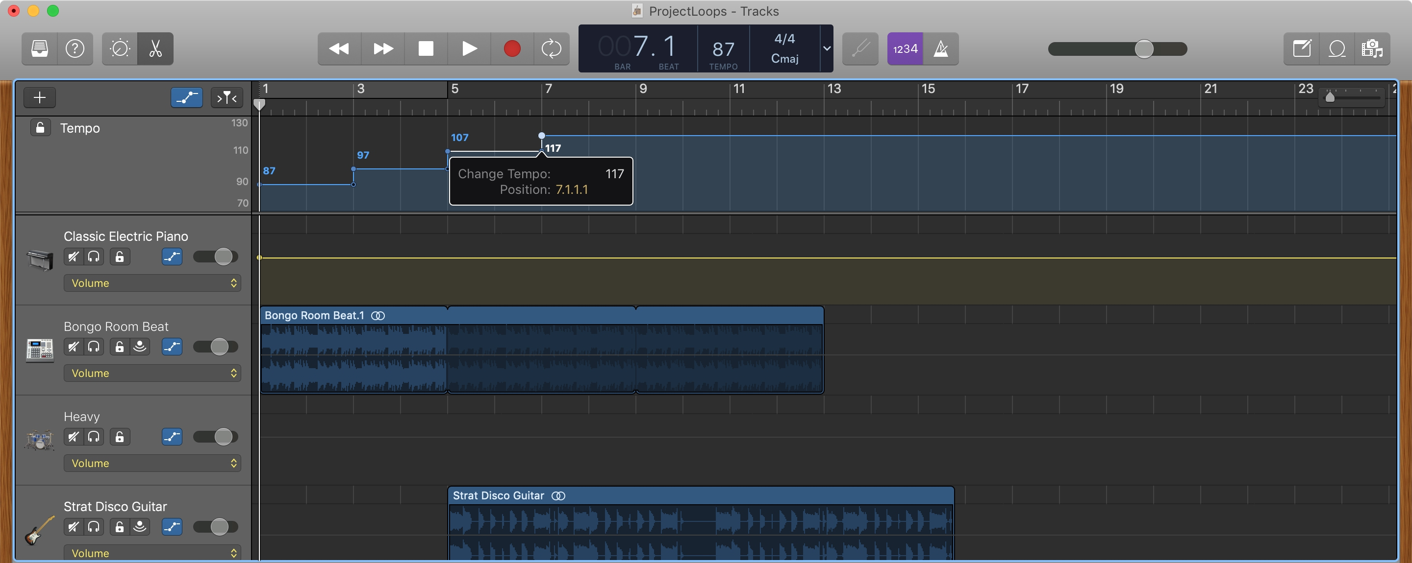 GarageBand Add Tempo Point Mac
