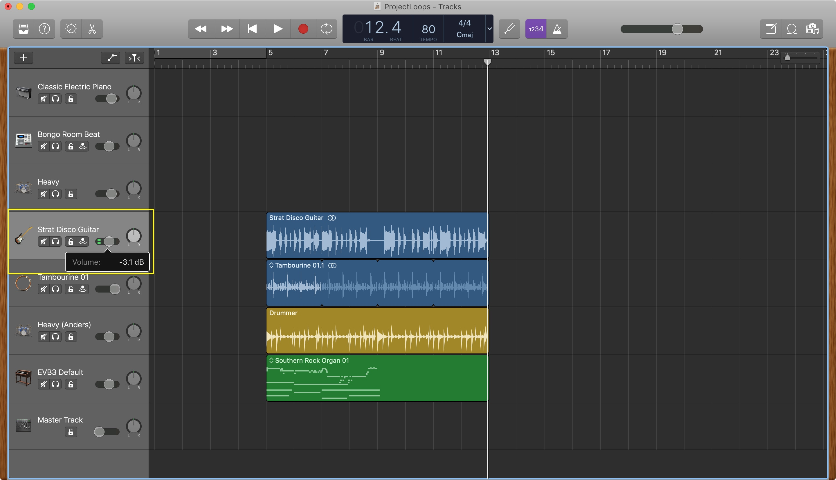 GarageBand Adjust Track Volume Mac