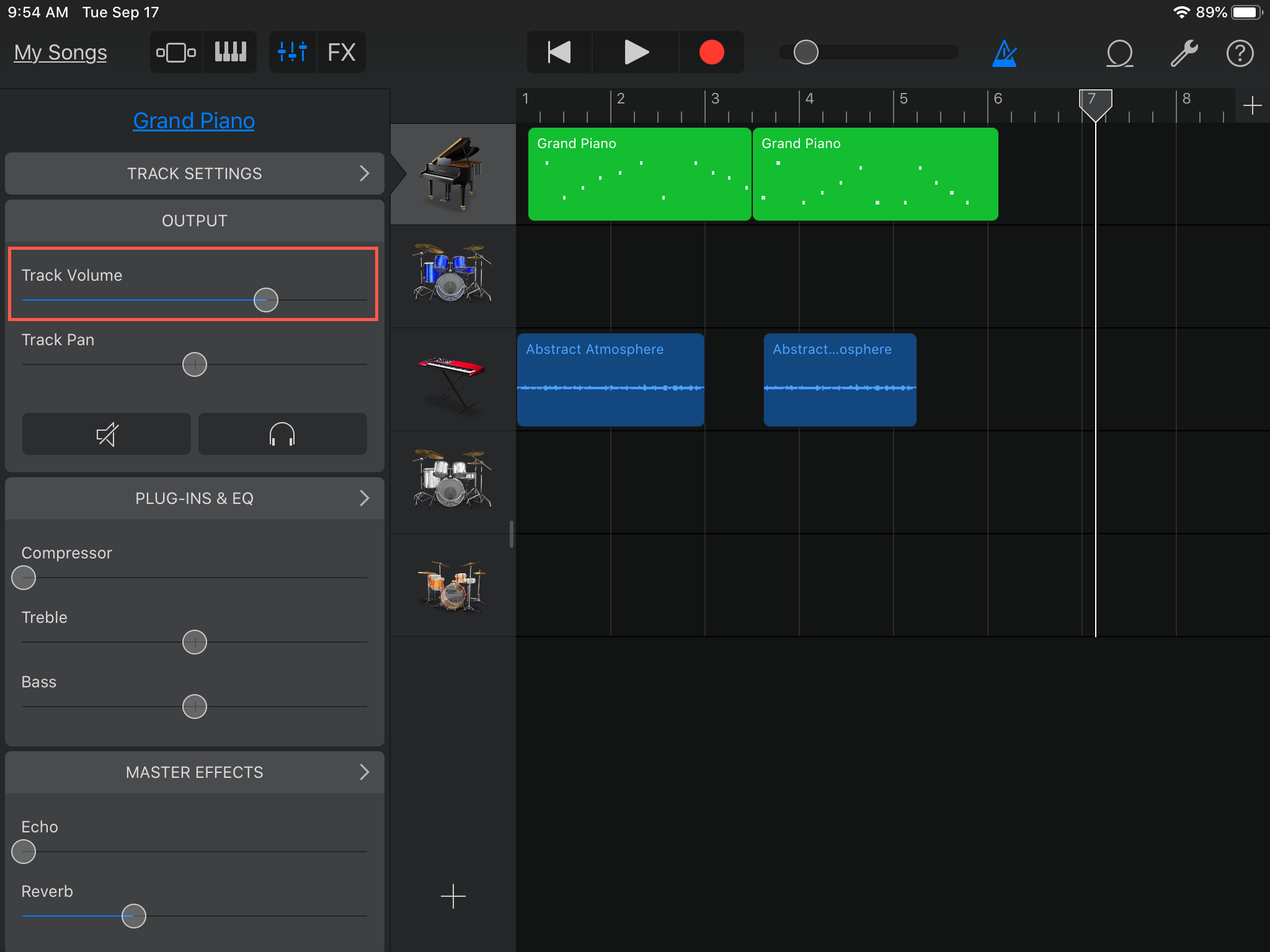 GarageBand Adjust Track Volume iPad