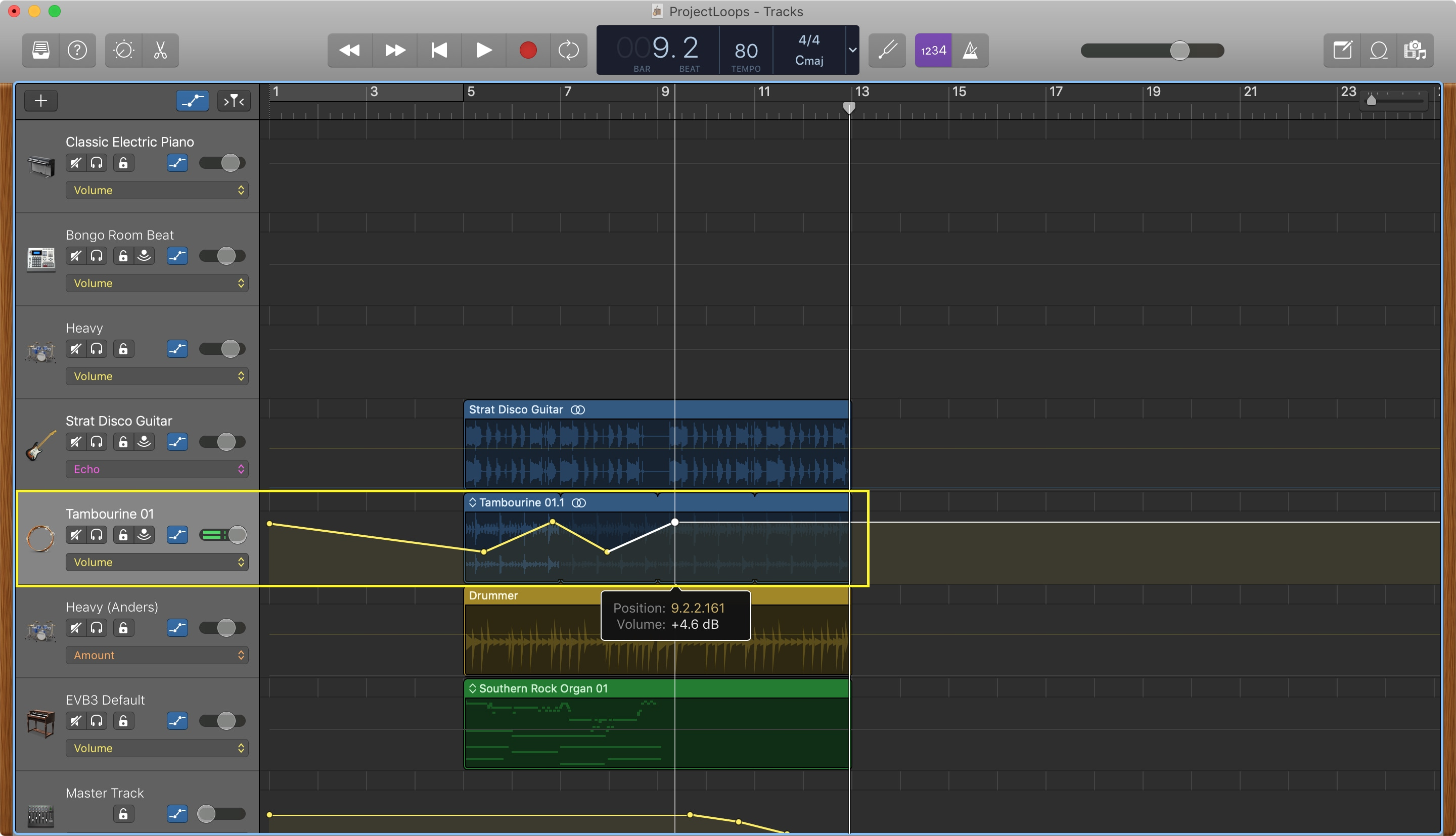 GarageBand Adjust Volume Points Mac