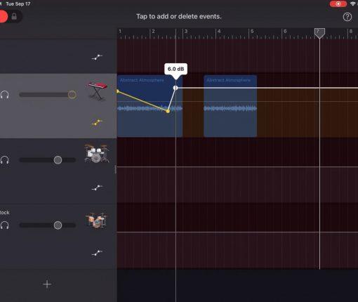 GarageBand Adjust Volume Points iPad