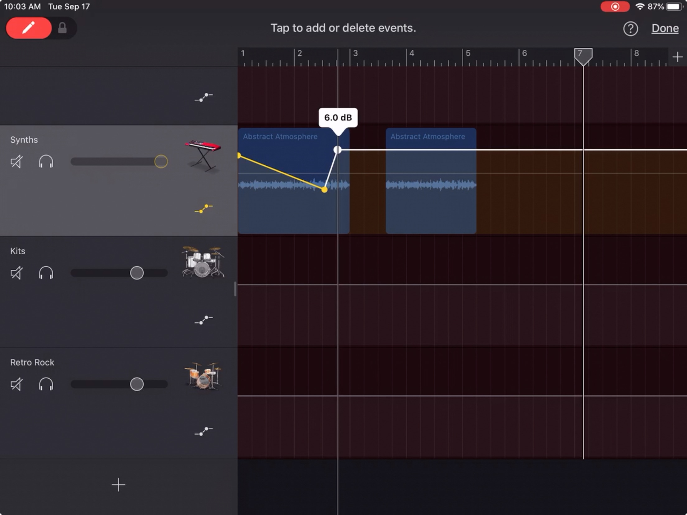 GarageBand Adjust Volume Points iPad
