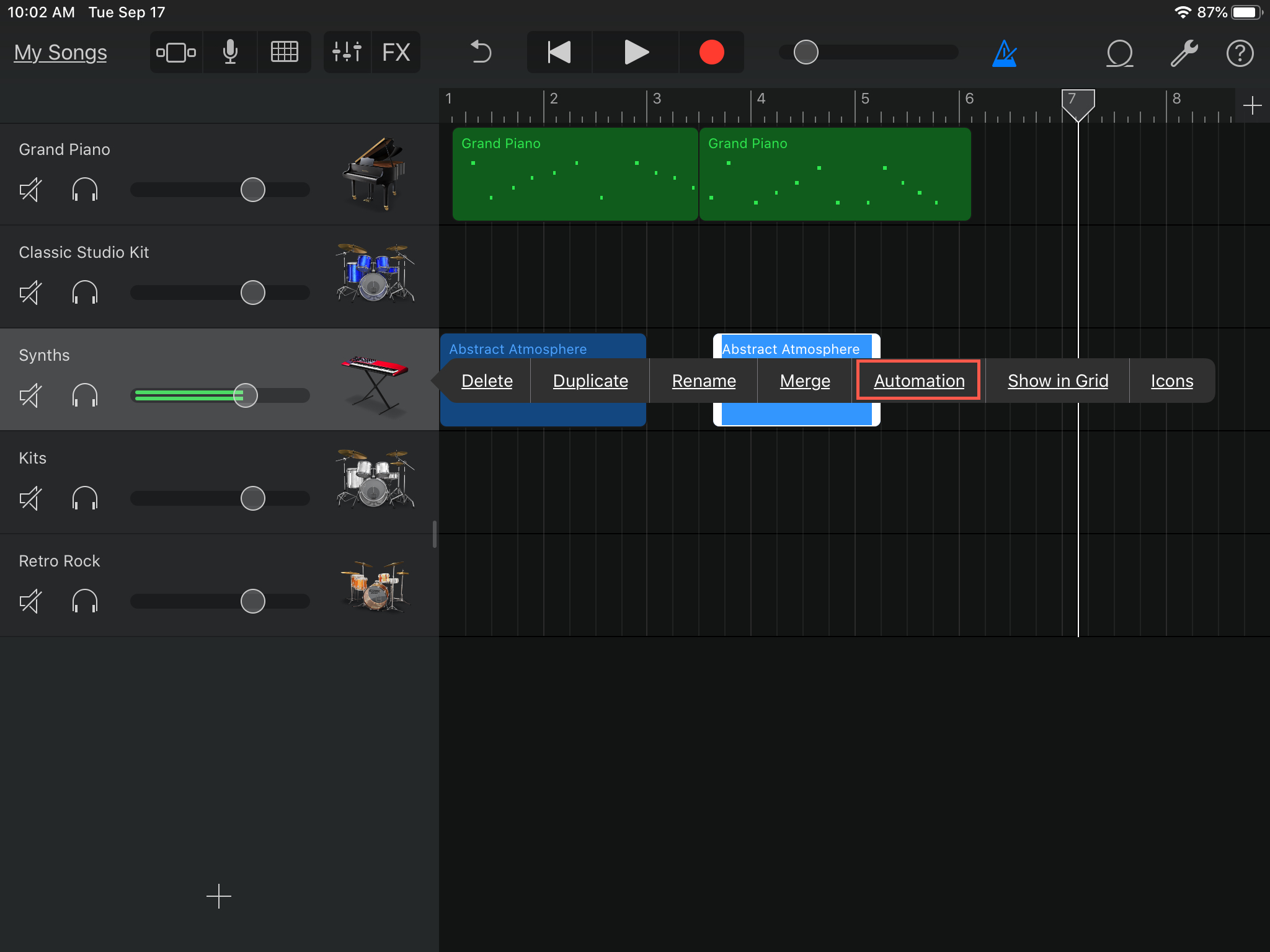 GarageBand Automation Points iPad
