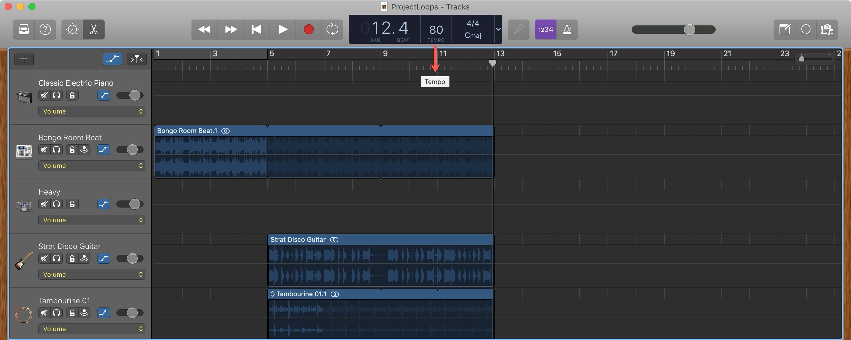 GarageBand Change Tempo Mac