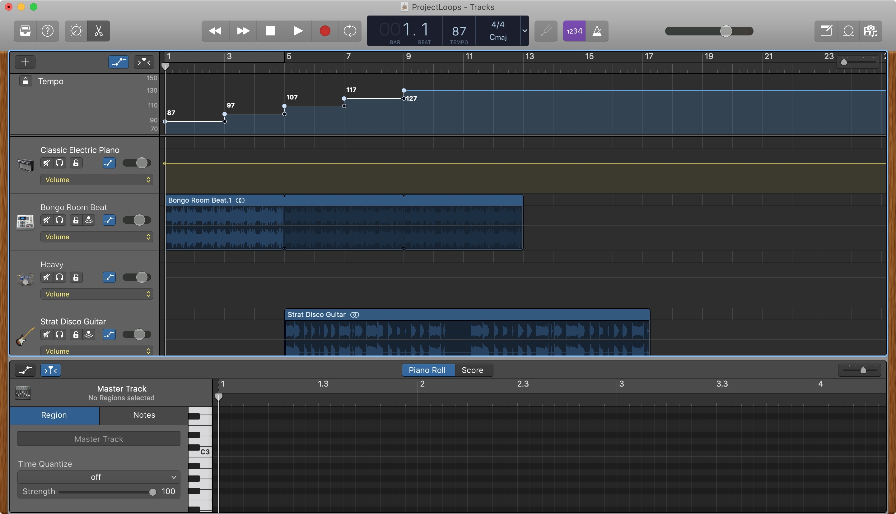 GarageBand Change Tempo Track Add Points Mac