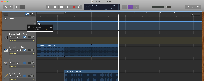 GarageBand Change Tempo Track Mac