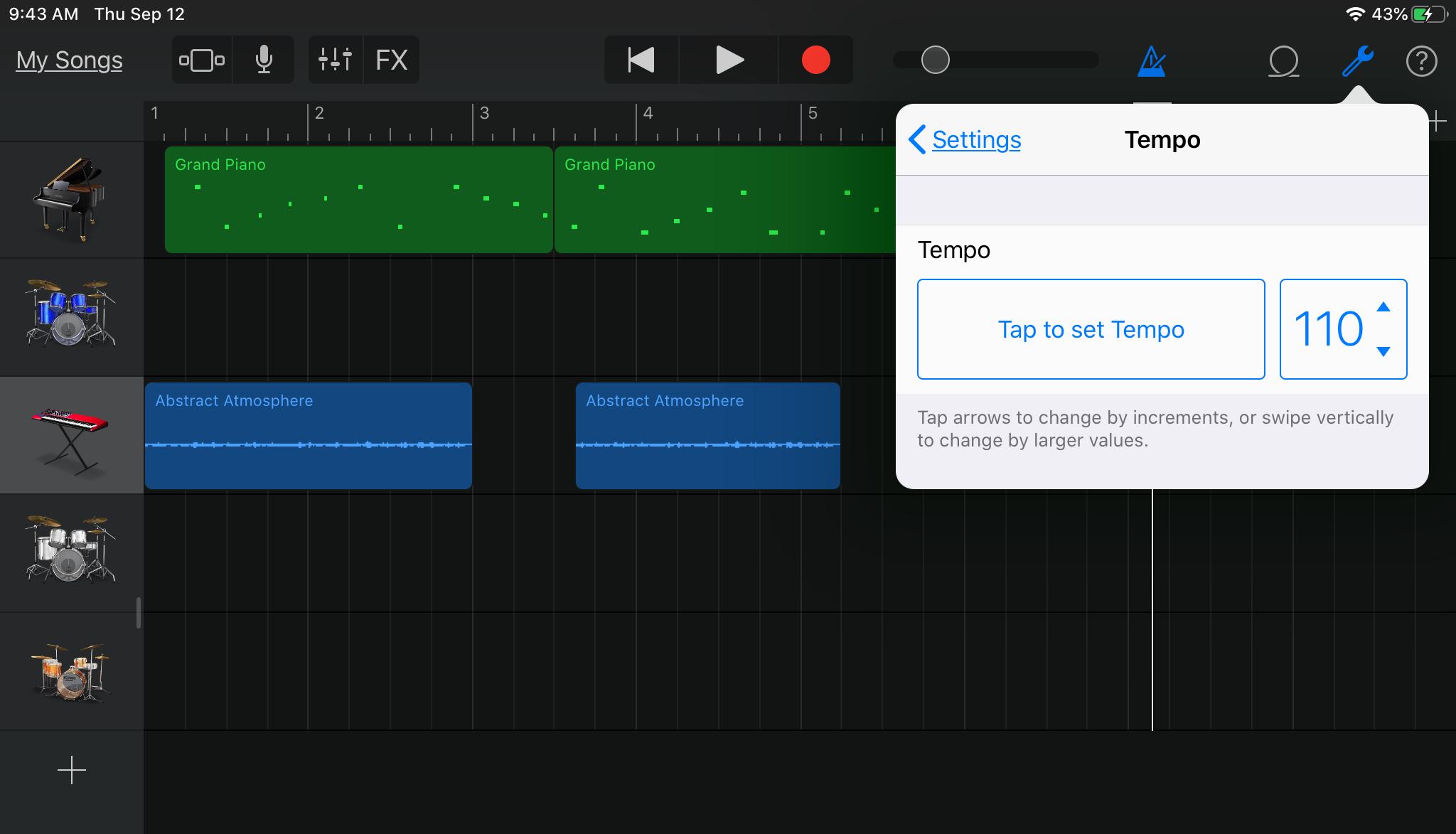 GarageBand Change Tempo iPad
