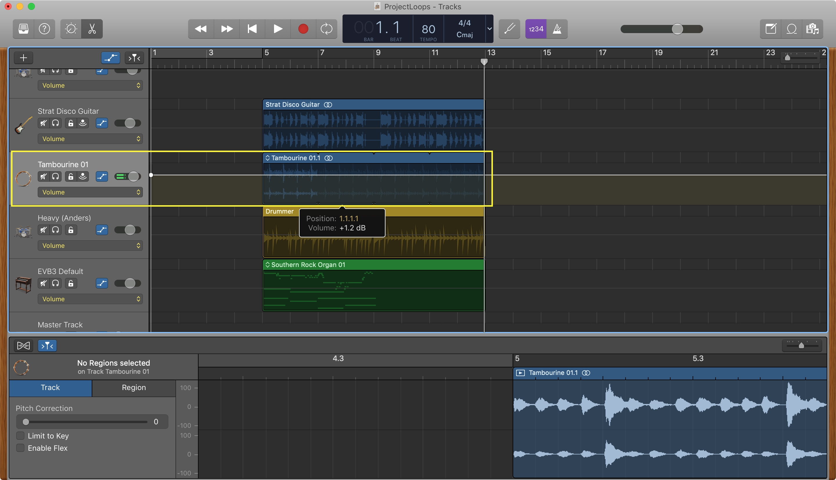 GarageBand Change Track Volume Mac