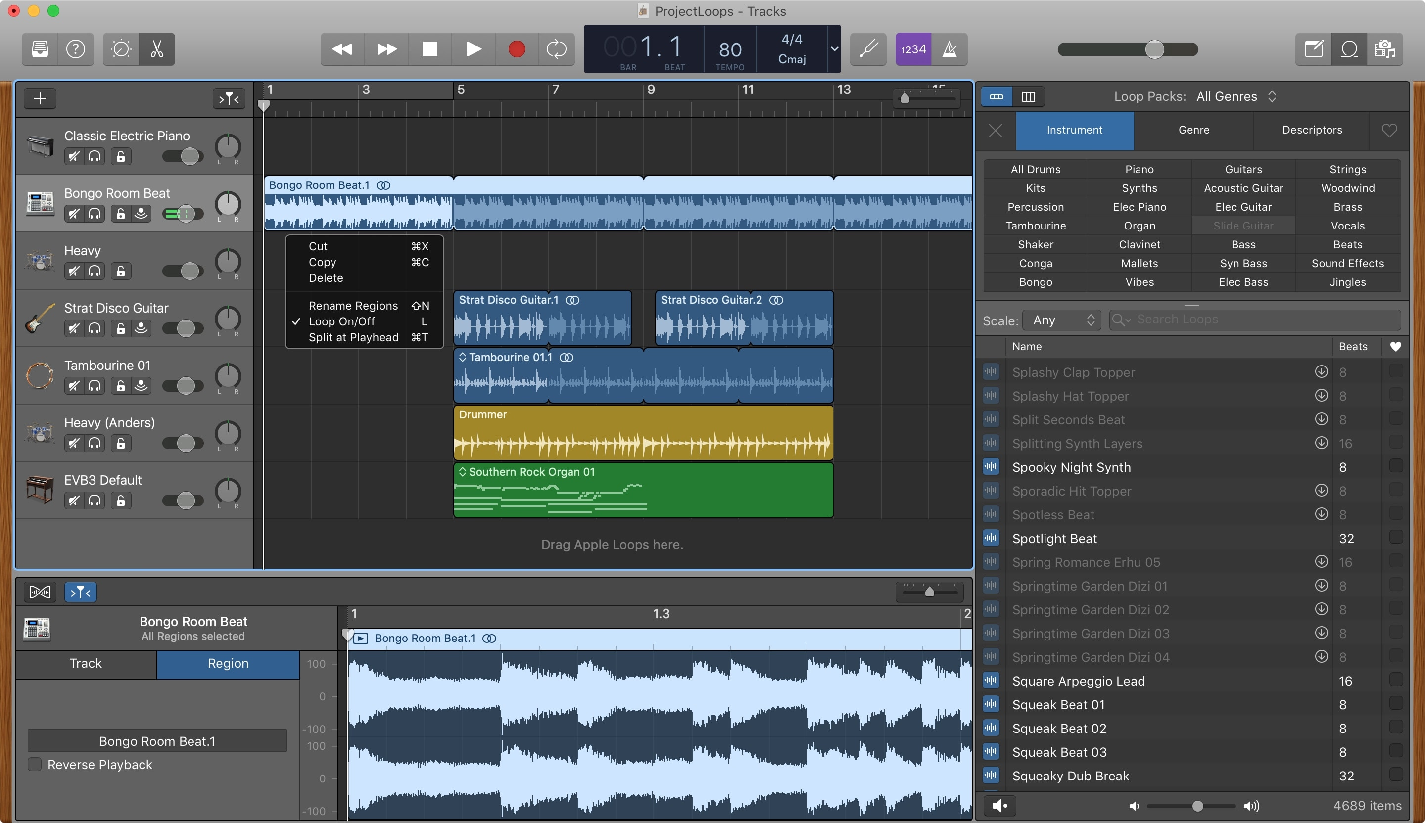 GarageBand Loop Repeatedly Region Mac