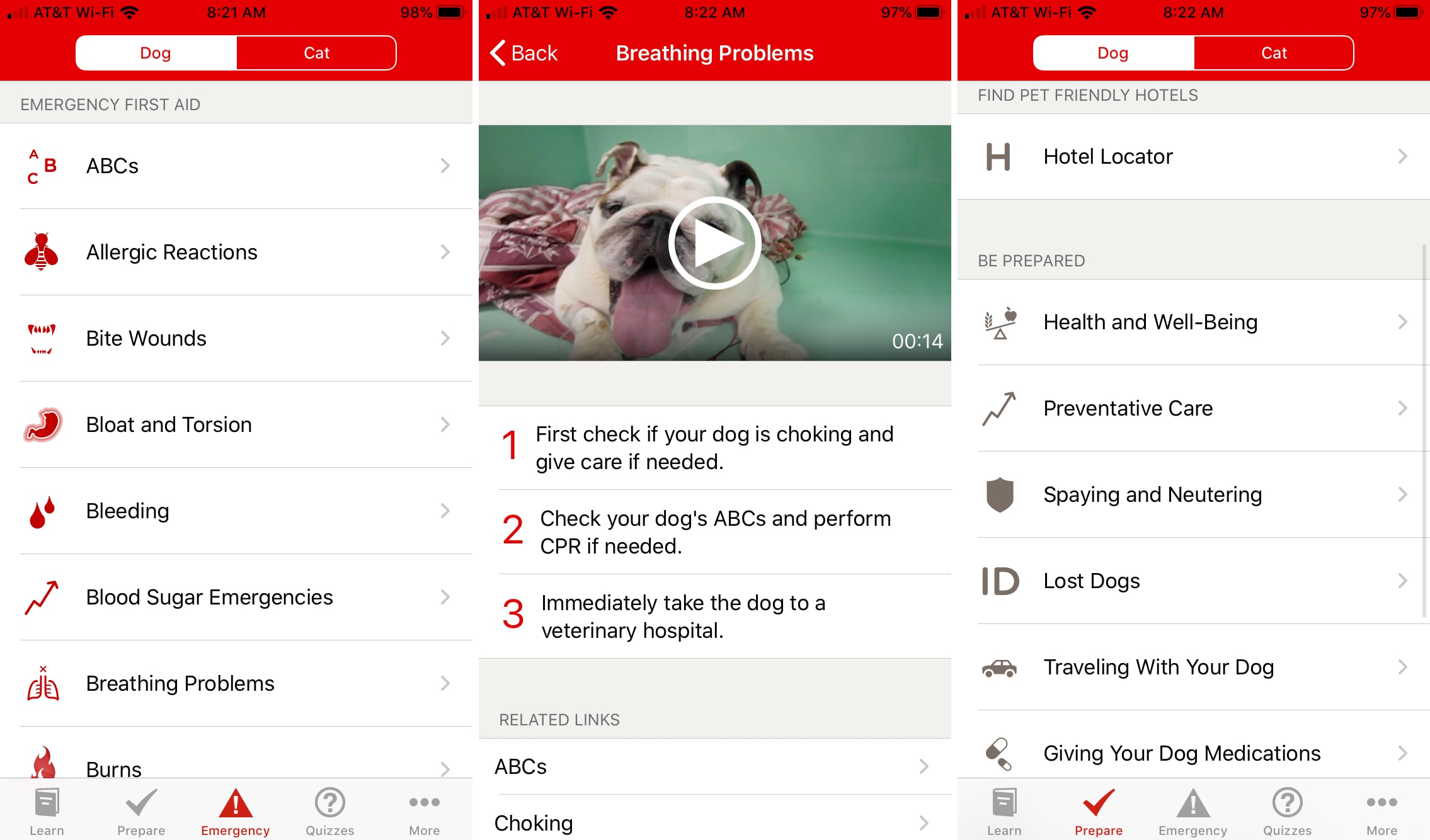 Pet First Aid app on iPhone