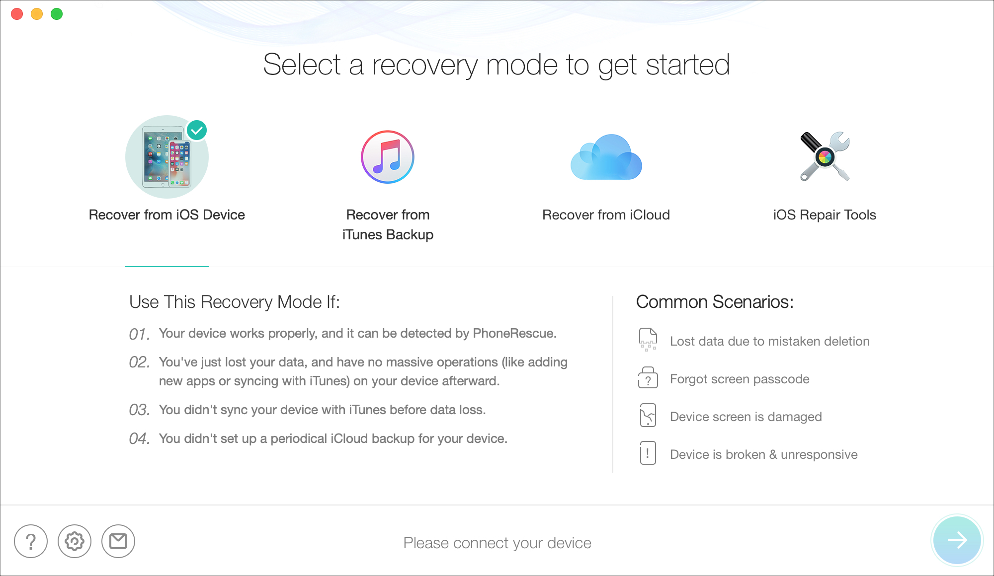 PhoneRescue Recovery Modes