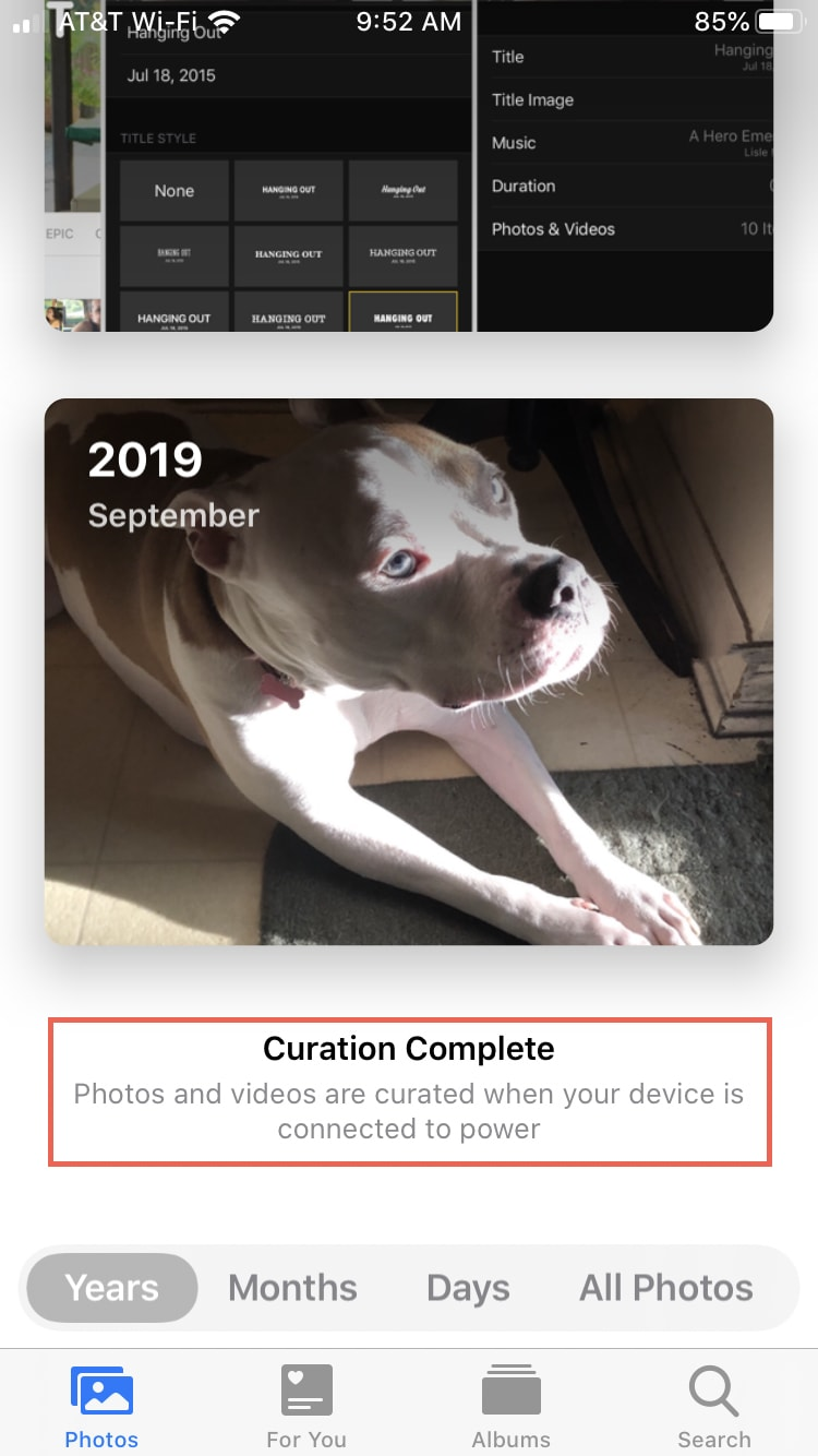 Photos app Curation Complete iPhone