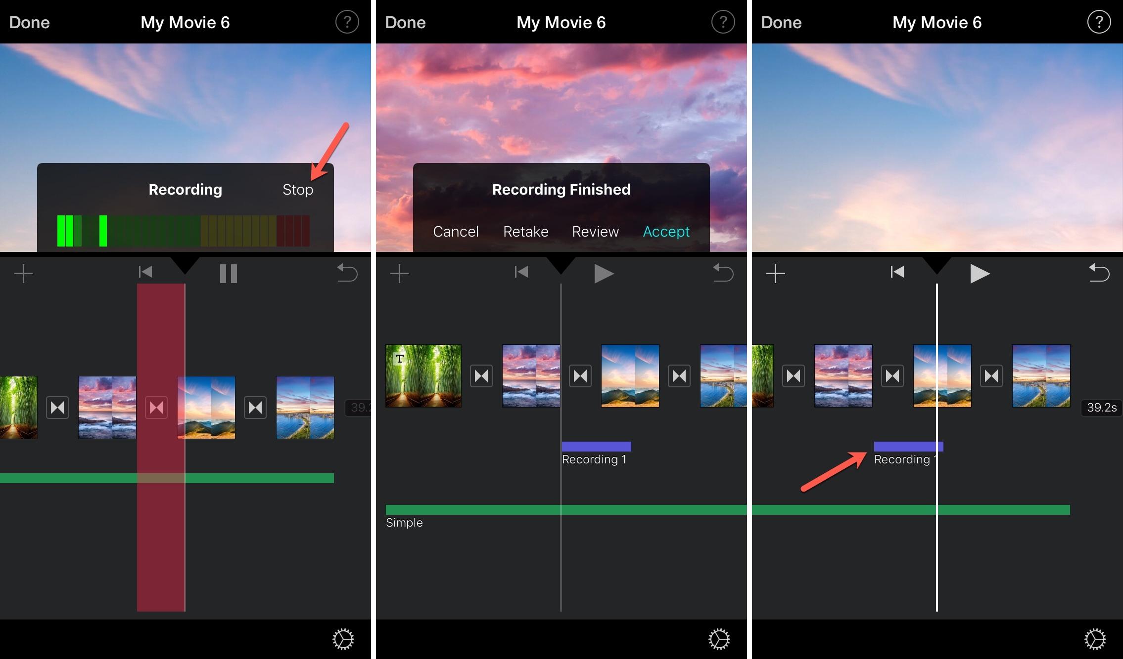 Recording Voiceover iMovie iPhone