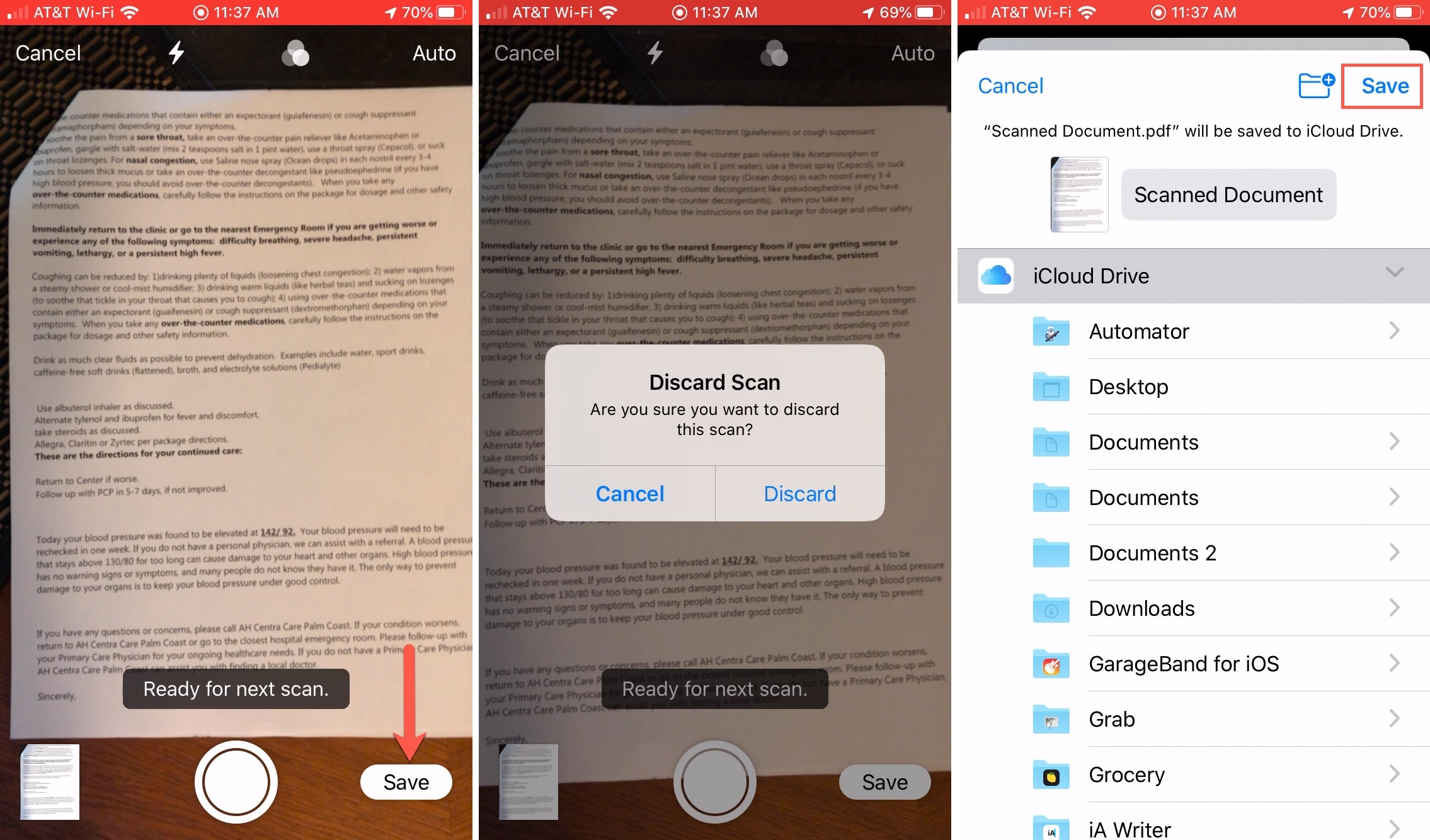 Save Scanned Documents Files App iPhone