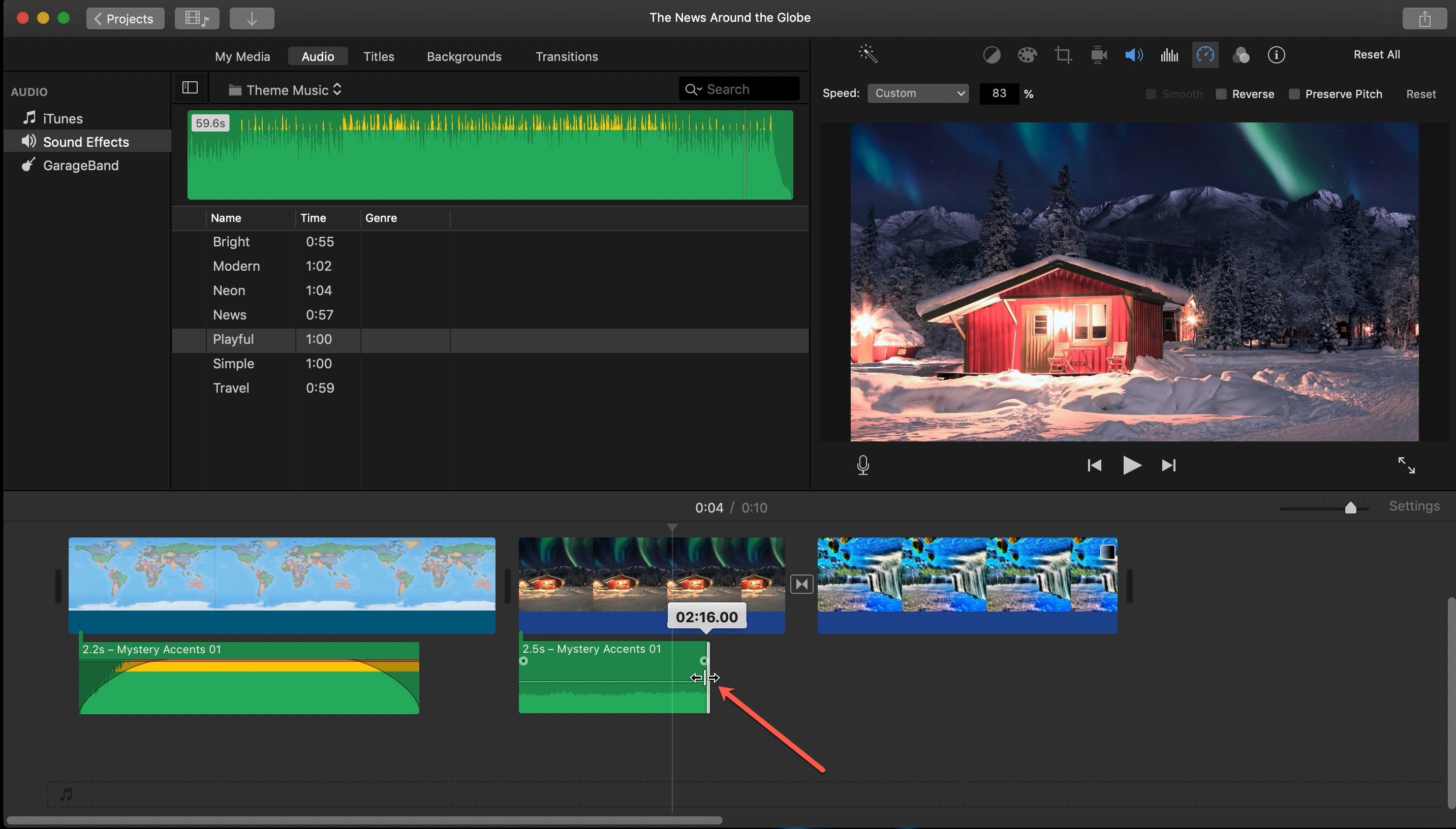 Shorten Audio Clip iMovie Mac
