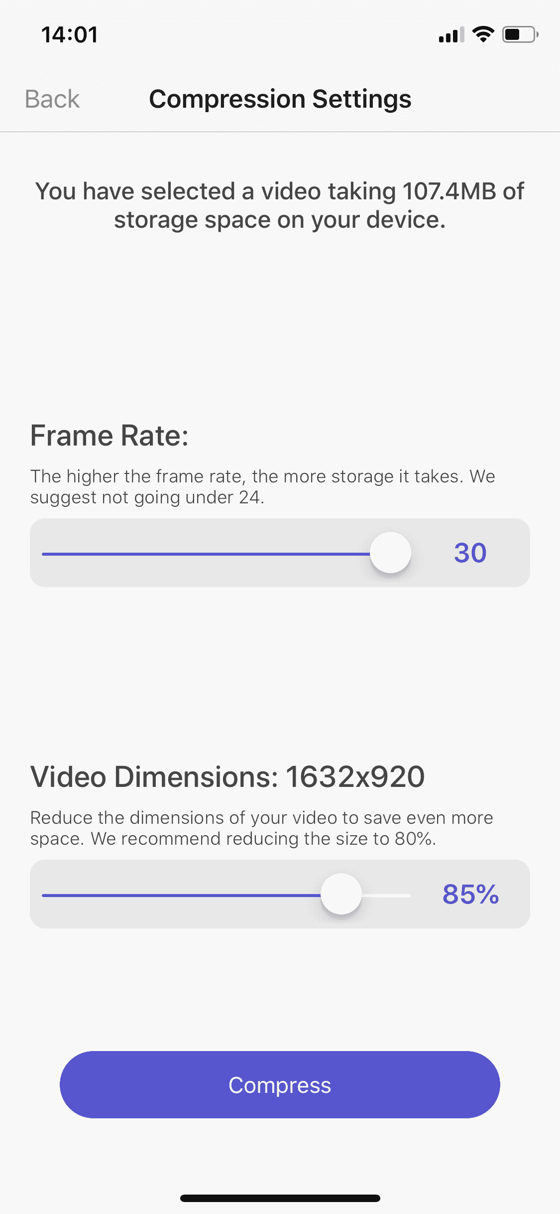 Shrink video dimensions