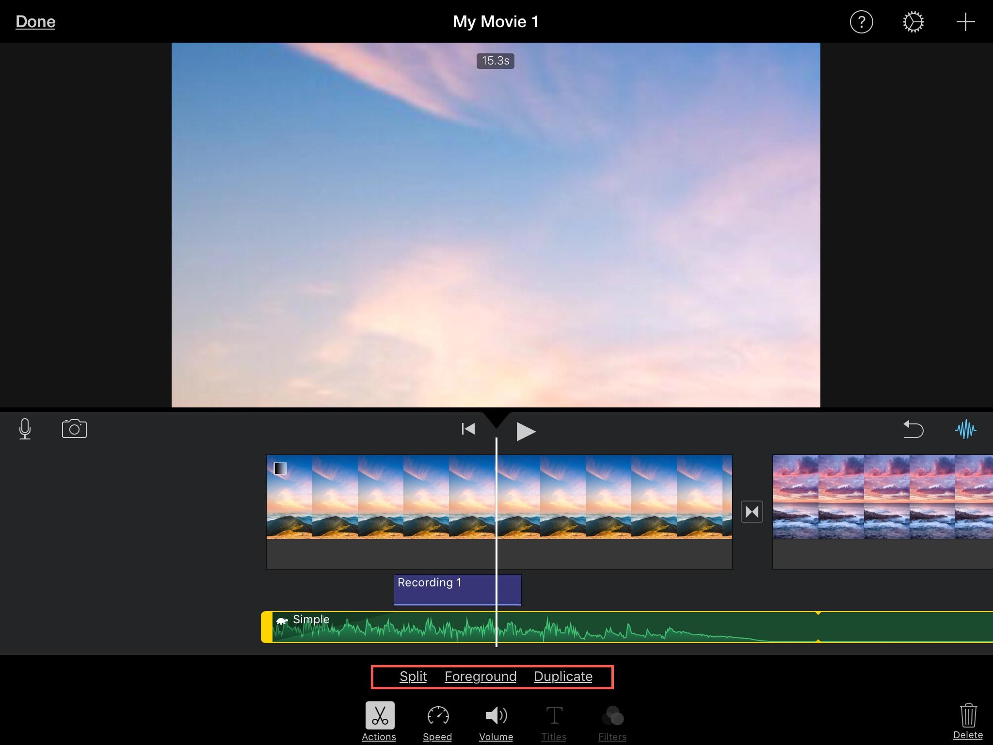 Split Foreground Duplicate Audio Clip iMovie iPad