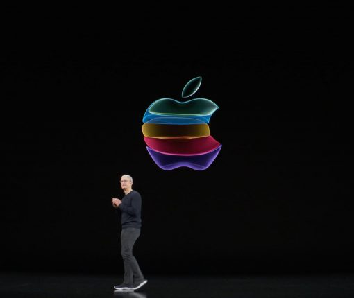 Tim Cook in front of Apple logo at the By Innovation Only event