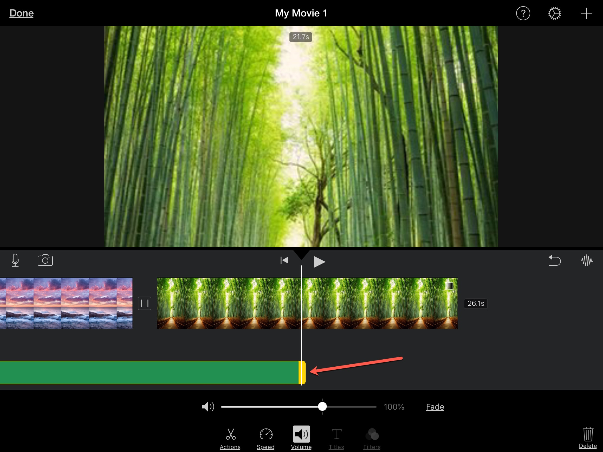 Trim Audio Clip iMovie iPad