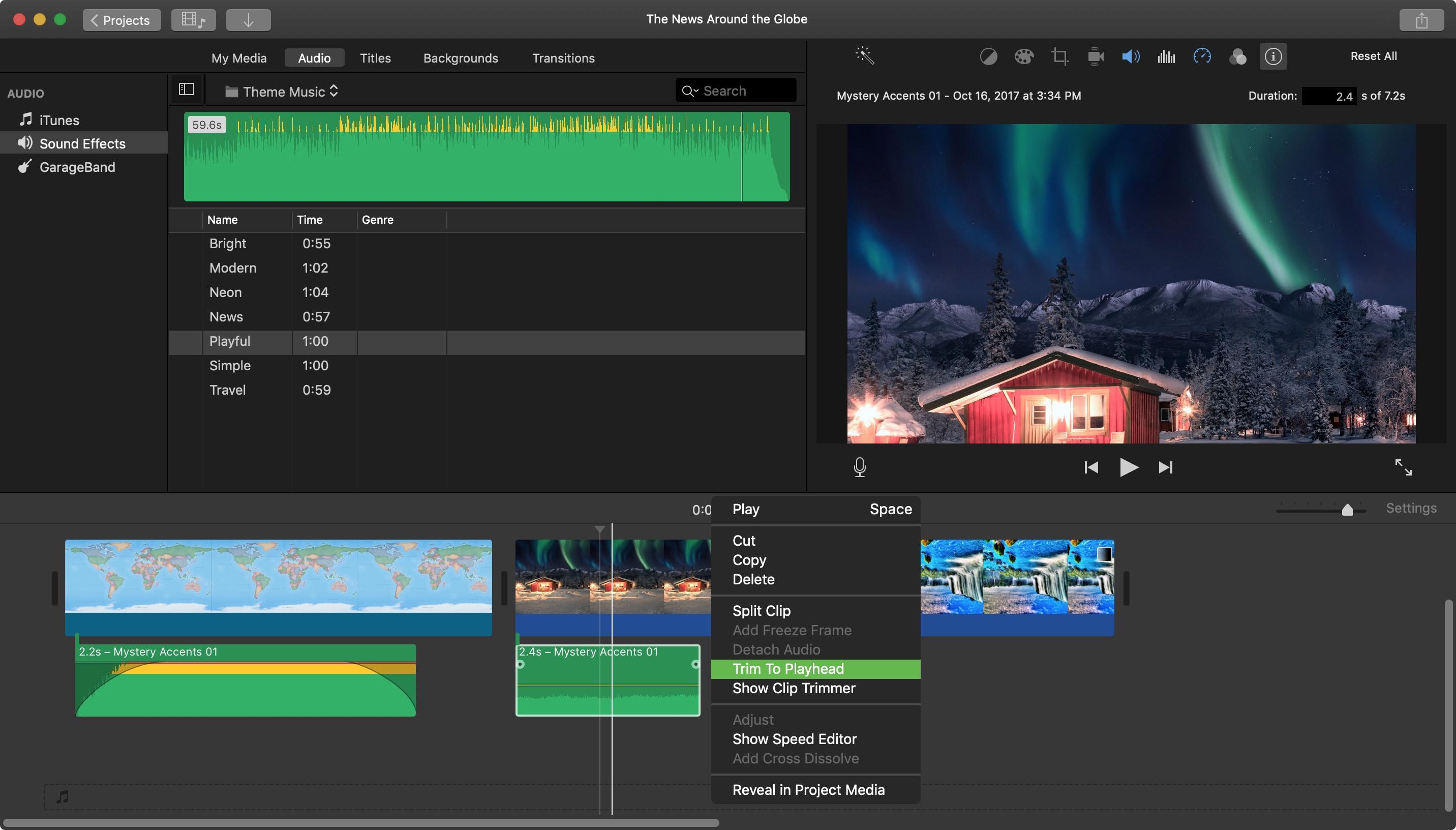 Trim to Playhead Audio Clip iMovie Mac